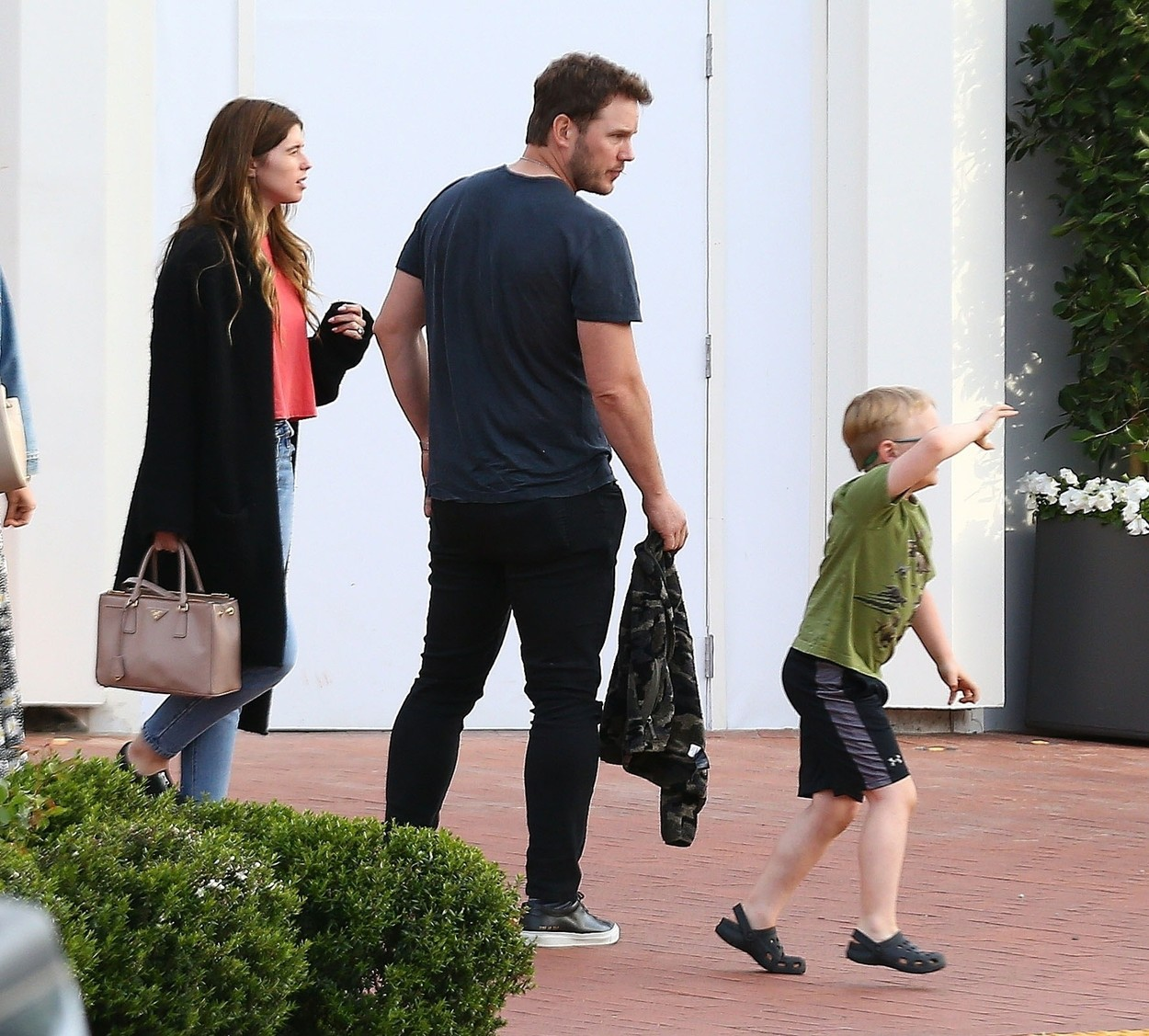*EXCLUSIVE* Pacific Palisades, CA  - **WEB MUST CALL FOR PRICING** Newlyweds Chris Pratt and Katherine Schwarzenegger step out for an evening in the Pacific Palisades with Chris' son, Jack Pratt, and friends. The family enjoyed a celebratory dinner at Blue Ribbon sushi and even enjoy a movie.  *UK Clients - Pictures Containing Children Please Pixelate Face Prior To Publication*,Image: 446340635, License: Rights-managed, Restrictions: , Model Release: no, Credit line: Dsanchez/CPR / BACKGRID / Backgrid USA / Profimedia