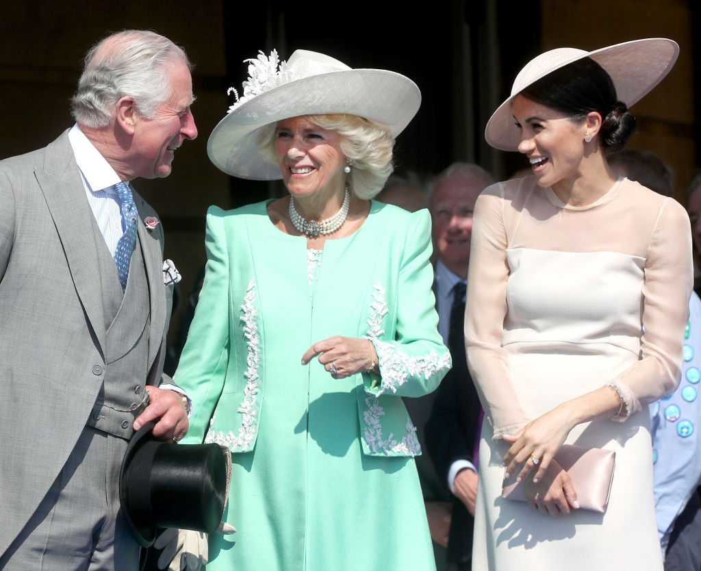 LONDON, ENGLAND - MAY 22:  (L-R) Prince Charles, Prince of Wales, Camilla, Duchess of Cornwall and Meghan, Duchess of Sussex attend The Prince of Wales' 70th Birthday Patronage Celebration held at Buckingham Palace on May 22, 2018 in London, England.  (Photo by Chris Jackson/Chris Jackson/Getty Images)