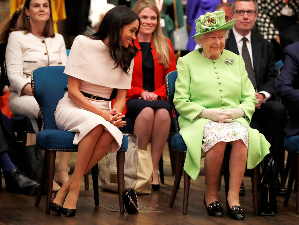 CHESTER, ENGLAND - JUNE 14:  Queen Elizabeth II and Meghan, Duchess of Sussex visit the Storyhouse to Chester Town Hall on June 14, 2018 in Chester, England. Meghan Markle married Prince Harry last month to become The Duchess of Sussex and this is her first engagement with the Queen. During the visit the pair will open a road bridge in Widnes and visit The Storyhouse and Town Hall in Chester.  (Photo by Phil Noble - WPA Pool/Getty Images)
