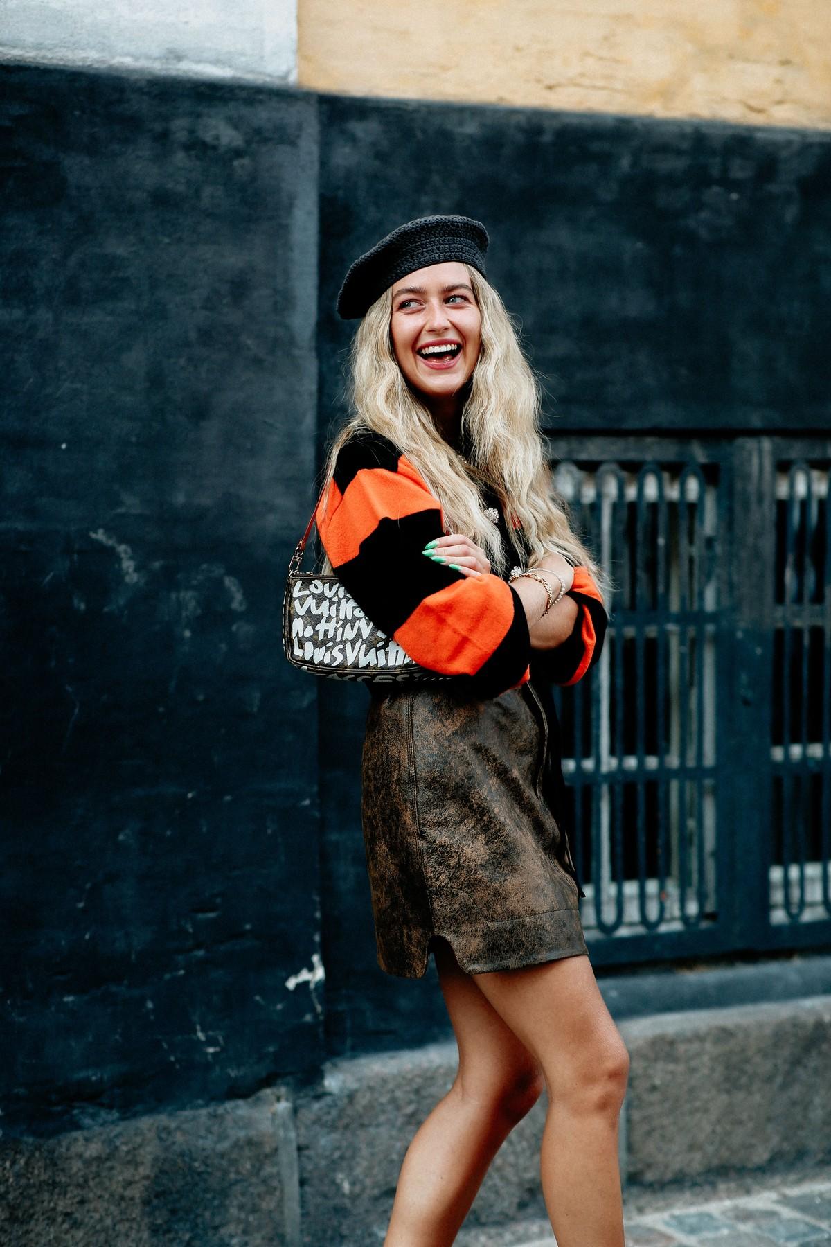 Street style, Emili Sindlev arriving at Ganni Spring Summer 2021 show, held at Badsmandsstraede, Copenhagen, Denmark, on August 10th, 2020.,Image: 551765319, License: Rights-managed, Restrictions: , Model Release: no, Credit line: Bertrand-Hillion Marie-Paola/ABACA / Abaca Press / Profimedia