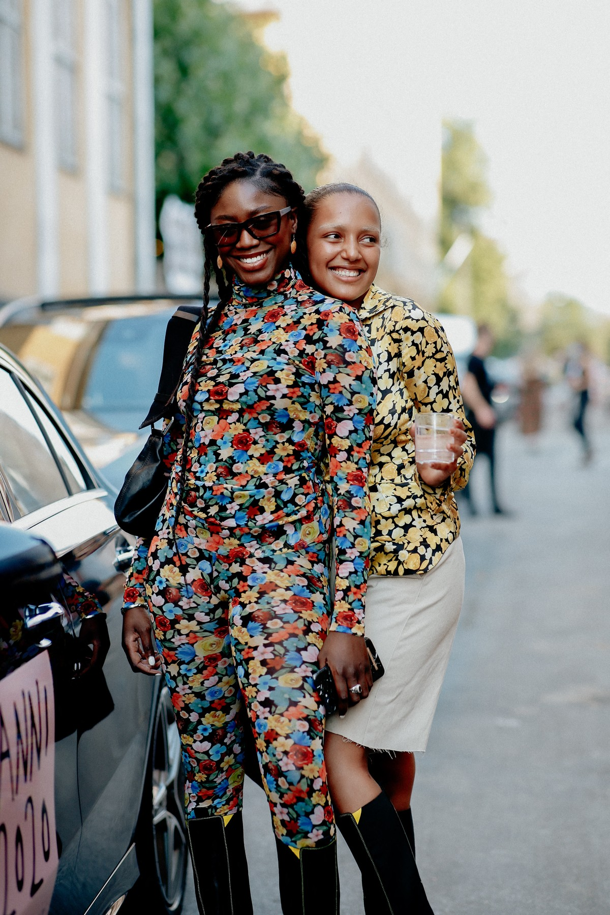 Street style, Flame and Chili Dia arriving at Ganni Spring Summer 2021 show, held at Badsmandsstraede, Copenhagen, Denmark, on August 10th, 2020.,Image: 551765375, License: Rights-managed, Restrictions: , Model Release: no, Credit line: Bertrand-Hillion Marie-Paola/ABACA / Abaca Press / Profimedia