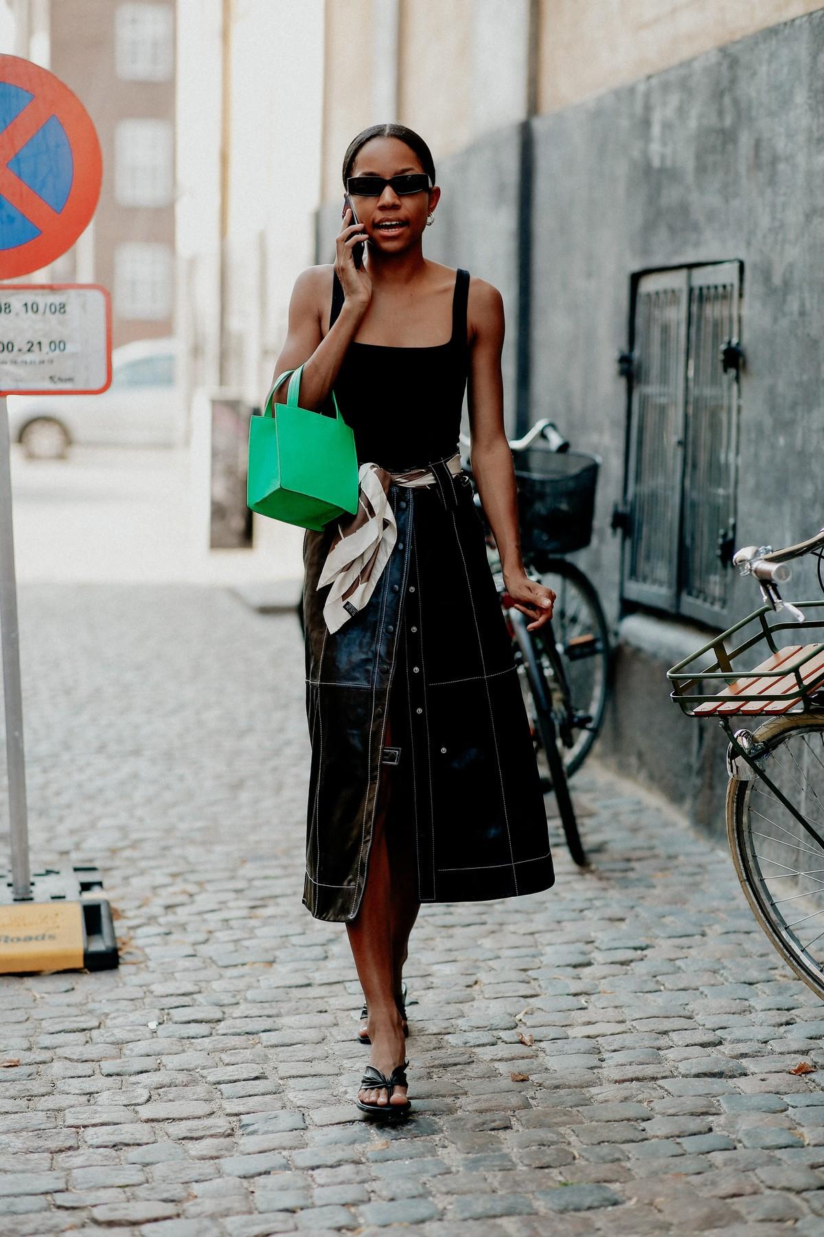 Street style, Bia Jones arriving at Ganni Spring Summer 2021 show, held at Badsmandsstraede, Copenhagen, Denmark, on August 10th, 2020.,Image: 551765182, License: Rights-managed, Restrictions: , Model Release: no, Credit line: Bertrand-Hillion Marie-Paola/ABACA / Abaca Press / Profimedia