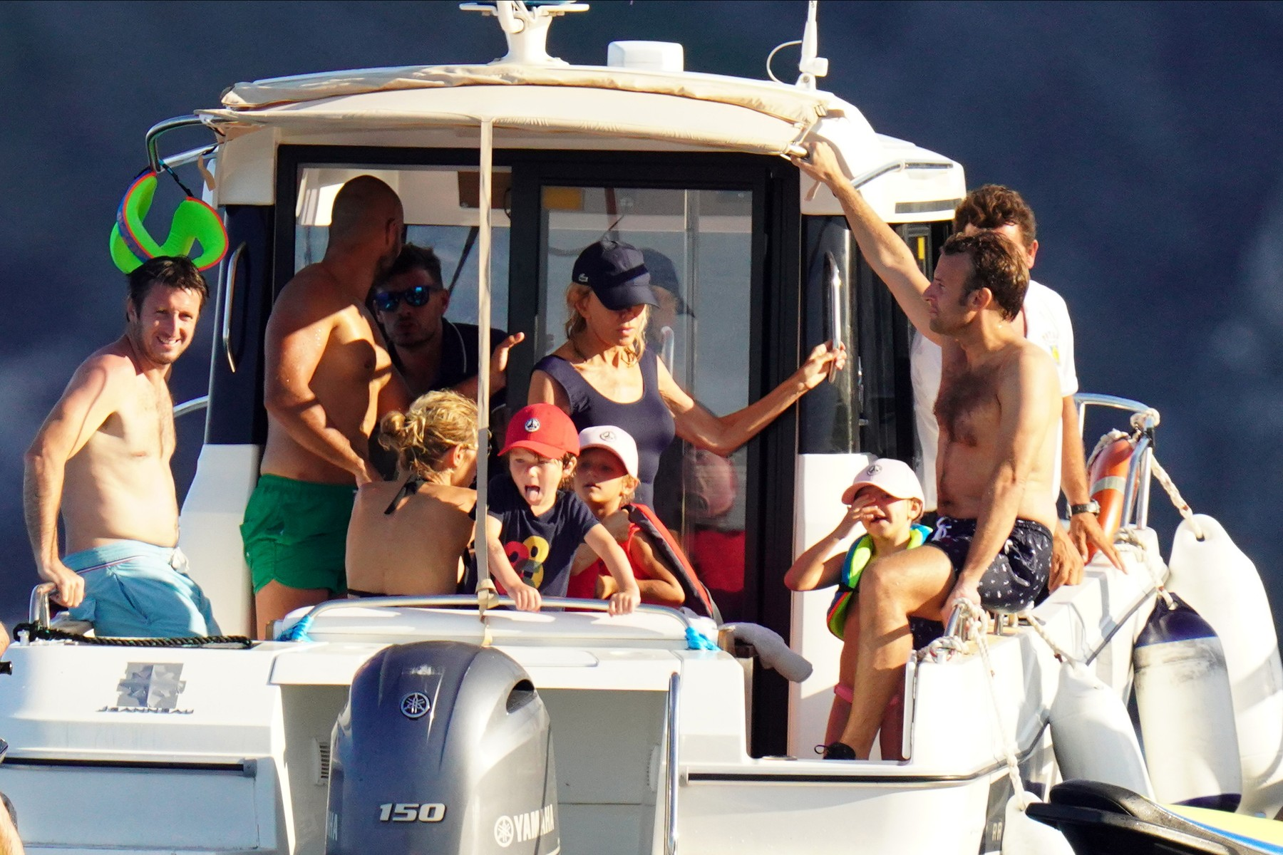 PREMIUM EXCLUSIVE - STRICTLY NO WEB NO BLOG BEFORE THURSDAY 13TH AUGUST 2020 -  French president Emmanuel Macron and wife Brigitte seen enjoying their holiday with their family during a boat day at Porquerolles island in South of France. 01 Aug 2020  The First Lady looks more sculptural than ever.,Image: 551857084, License: Rights-managed, Restrictions: ONLY Australia, Canada, Croatia, Denmark, Greece, Ireland, Israel, Japan, Lithuania, New Zealand, Norway, Poland, Portugal, Romania, Slovakia, Slovenia, South Africa, South Korea, Taiwan, Thailand, Turkey, Ukraine, United Arab Emirates, United Kingdom, United States, Model Release: no, Credit line: MEGA / The Mega Agency / Profimedia
