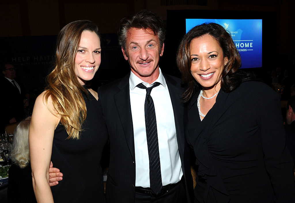 LOS ANGELES, CA - JANUARY 14: (L-R) Actors Hilary Swank, Sean Penn and Attorney General of California Kamala Harris attend the Cinema For Peace event benefitting J/P Haitian Relief Organization in Los Angeles held at Montage Hotel on January 14, 2012 in Los Angeles, California.  (Photo by Michael Buckner/Getty Images For J/P Haitian Relief Organization and Cinema For Peace)