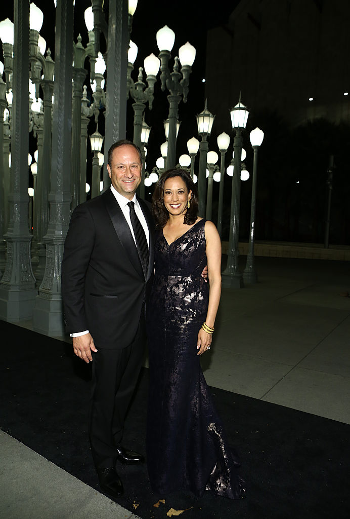 LOS ANGELES, CA - NOVEMBER 01:  Attorney Douglas Emhoff (L) and California Attorney General Kamala Harris attend the 2014 LACMA Art + Film Gala honoring Barbara Kruger and Quentin Tarantino presented by Gucci at LACMA on November 1, 2014 in Los Angeles, California.  (Photo by Rich Polk/Getty Images for LACMA)