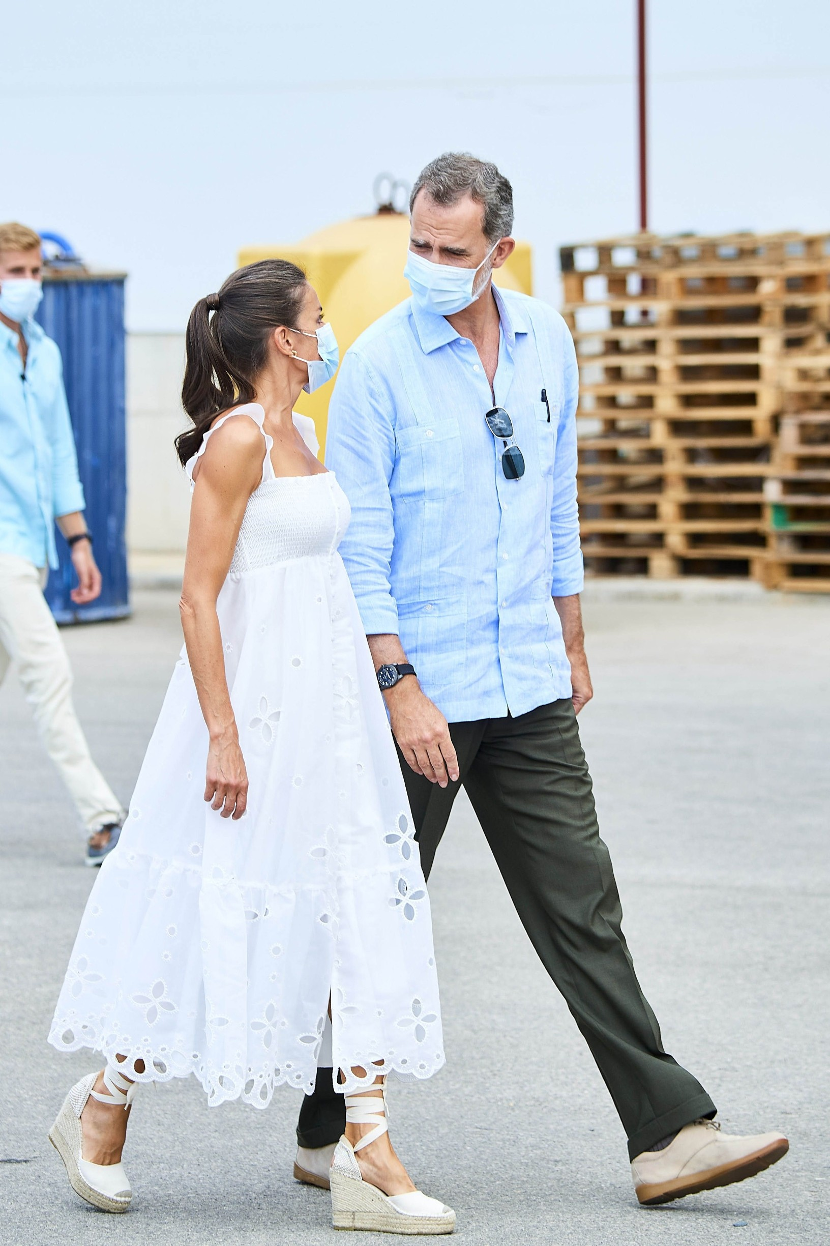 13-08-2020 Menorca Queen Letizia and King Felipe during a cheese-making demonstration at the Insular Livestock Cooperative (COINGA) in Alaior on the Balearic island of Palma de Menorca.  No Spain  ' PPE/Thorton //THORTON-PPE_1.1076/2008131818/Credit:THORTON/PICTURE PRESS EUR/SIPA/2008131820,Image: 552171393, License: Rights-managed, Restrictions: , Model Release: no, Credit line: THORTON/PICTURE PRESS EUR / Sipa Press / Profimedia