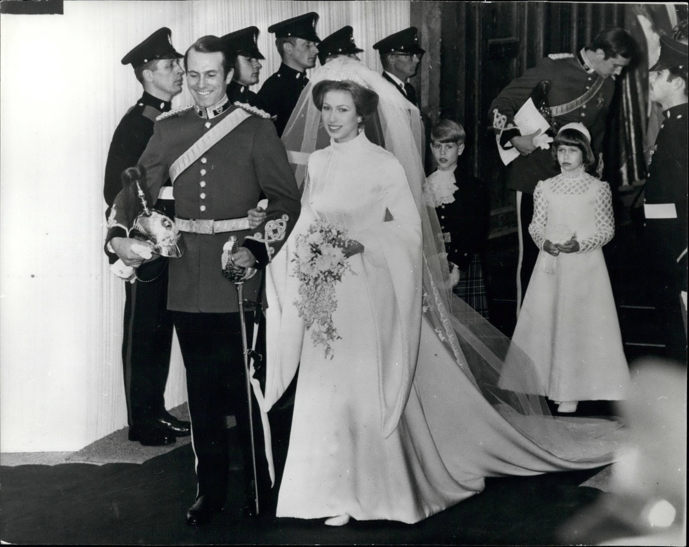 Nov. 11, 1973 - Wedding Of Princess Anne And Captain Mark Phillips At Westminster Abbey. Photo Shows:- The bride and groom smiling broadly as they left Westminster Abbey after their wedding today, followed by Prince Edward who was the Page and Lady Sarah Armstrong-Jones, the bridesmaid. Behind is the Best Man, Capt. Eric Grounds.,Image: 209875578, License: Rights-managed, Restrictions: , Model Release: no, Credit line: Keystone Pictures USA / Zuma Press / Profimedia