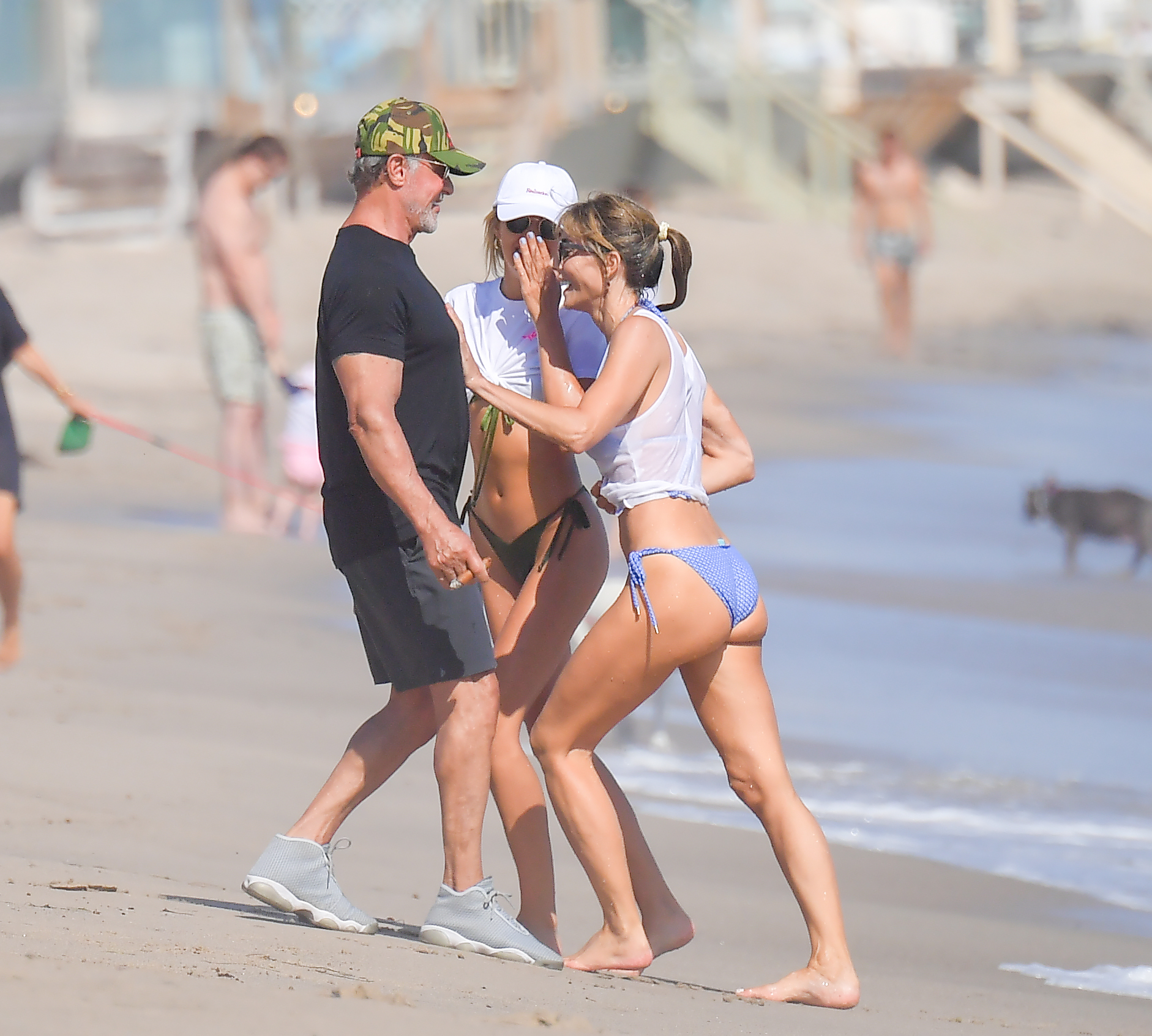 Sylvester Stallone heads to the beach with his daughters Scarlet and Sophia and his wife Jennifer Flavin. Stallone puffed on a cigar and kept his feet wet as he had a great time in Malibu. 15 Aug 2020,Image: 552807140, License: Rights-managed, Restrictions: World Rights, Model Release: no, Credit line: Snorlax / MEGA / The Mega Agency / Profimedia
