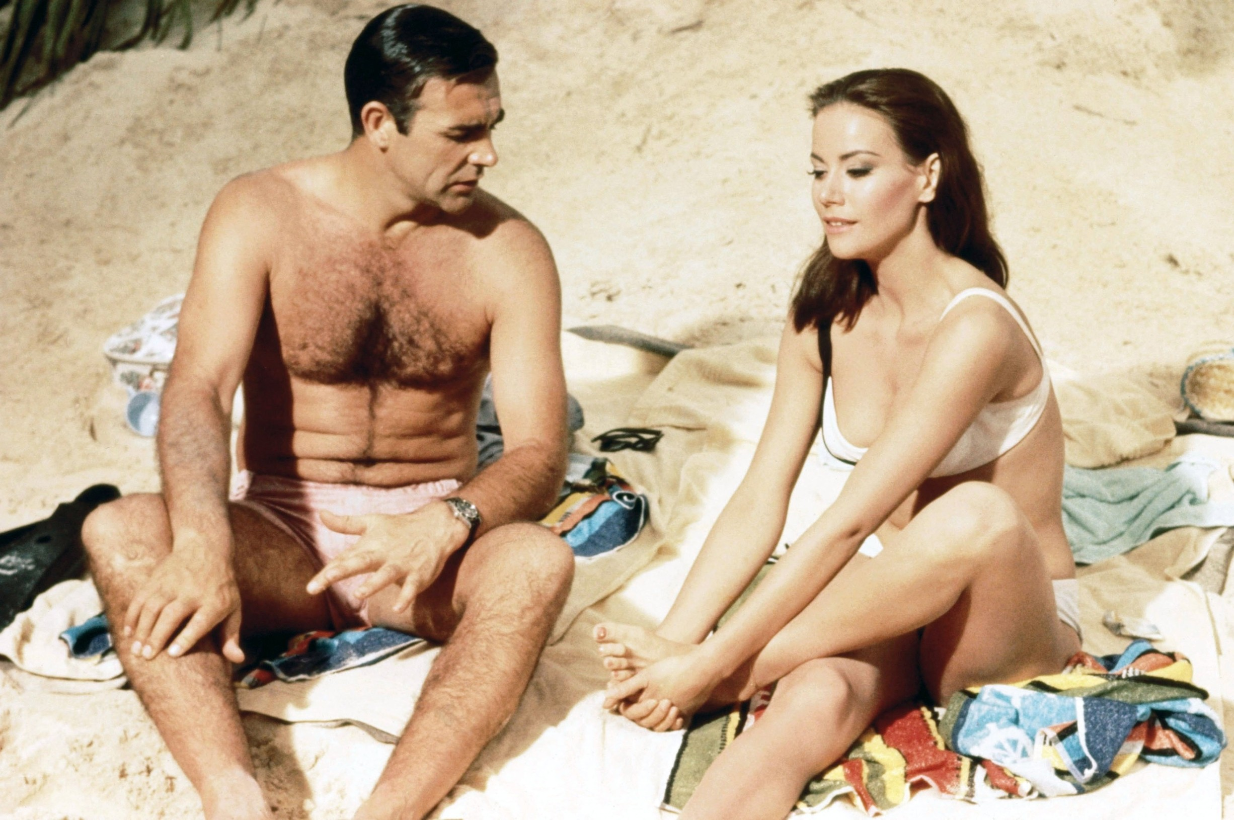 007, JAMES BOND: THUNDERBALL (1965) - CLAUDINE AUGER - SEAN CONNERY.,Image: 137049330, License: Rights-managed, Restrictions: Editorial use only. No merchandising or book covers. This is a publicly distributed handout. Access rights only, no license of copyright provided., Model Release: no, Credit line: EON-UNITED ARTISTS - Album / Album / Profimedia
