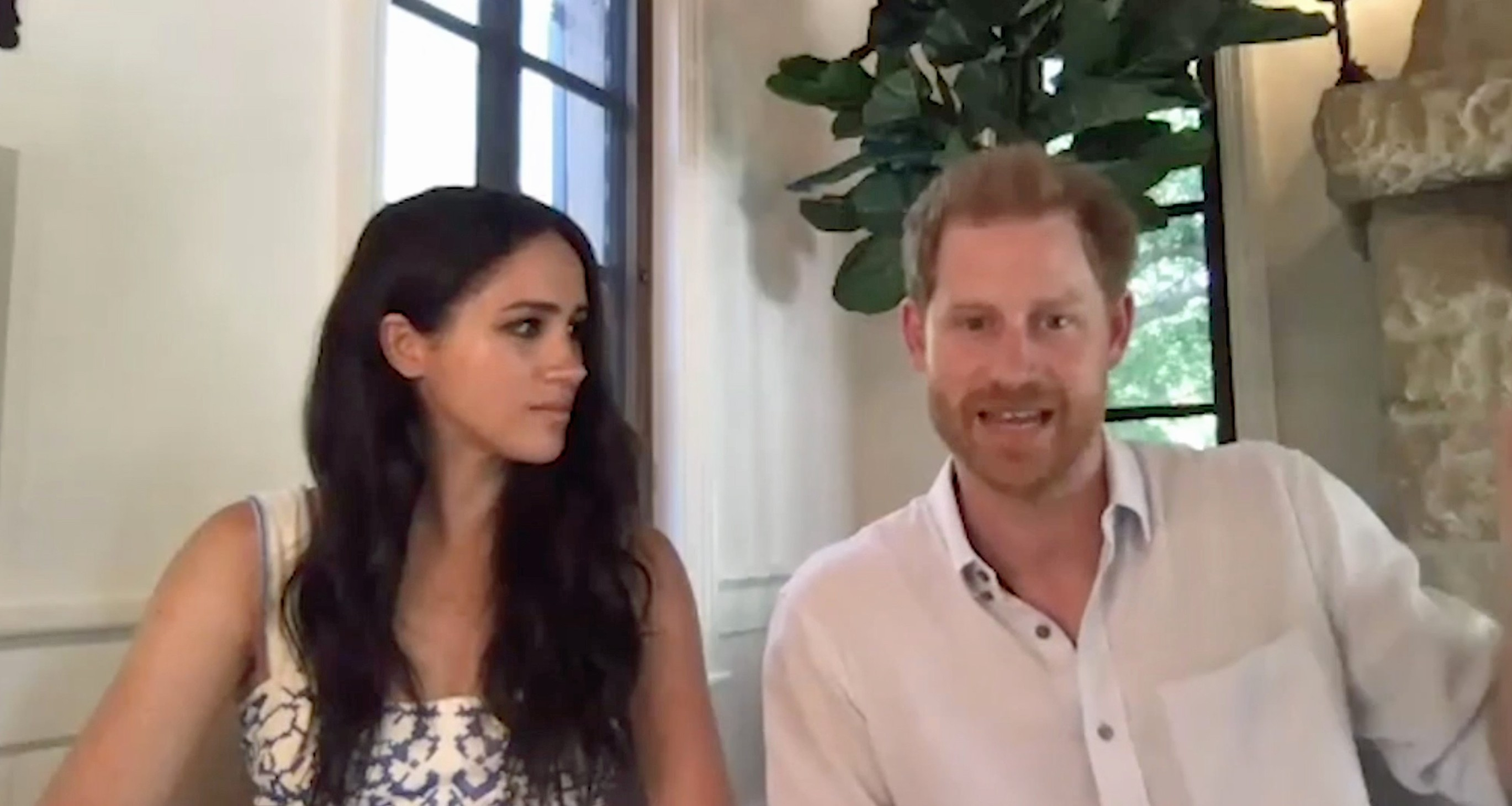 """Ferrari Press Agency Ref 12075 Sussex  1 20/08/2020 See Ferrari text Pictures MUST credit: Queen's Commonwealth Trust  Meghan Markle joined husband Prince Harry in a video broadcast from their new home in California for a conference about the British Commonwealth organisation.Former actress Meghan admitted she didn't know about it  until she joined the Royal Family.She said it was an honour to be continuing Queen Elizabeth's  legacy during a video call with young leaders from the Queen's Commonwealth Trust.The Duke, 35, and Duchess of Sussex, 39,  joined the discussion from their new  million mansion in Santa Barbara, California, on Monday, with a video of the call shared by the trust  today.     Prince Harry and Meghan the Duke and Duchess of Sussex,  spoke adoringly of the Queen, 94, whom they referred to as grandmother during the video call.It comes  weeks after their rift with the Royal Family was laid bare in their biography Finding Freedom.Their loving comments come after the couple faced criticism for their last conversation with the group, in which they appeared to take a swipe at the British Empire by saying the history of the Commonwealth """"must be acknowledged"""" even if it's '""""uncomfortable""""The commonwealth is an organisation made up of mostly former colonies of the British empire.  OPS: Prince Harry and Meghan Markle in their video conference from California for the Queen's Commonwealth Trust  Picture supplied by Ferrari,Image: 554004997, License: Rights-managed, Restrictions: , Model Release: no, Credit line: Queen's Commonwealth Trust / Ferrari / Profimedia"""