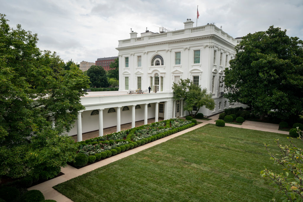 WASHINGTON, DC - AUGUST 22: A view of the recently renovated Rose Garden at the White House on August 22, 2020 in Washington, DC. The Rose Garden has been under renovation since last month and updates to the historic garden include a redesign of the plantings, new limestone walkways and technological updates to the space. (Photo by Drew Angerer/Getty Images)