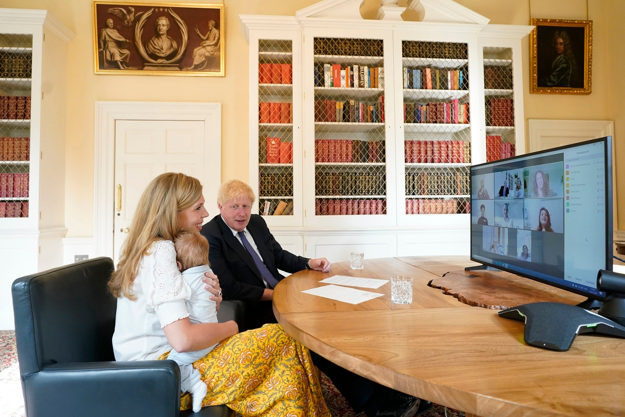 Embargoed until 2200 18072020….14/07/2020. London, United Kingdom. Boris Johnson and Carrie NHS Call.The Prime Minister Boris Johnson and his partner Carrie Symonds with their son Wilfred in the study of No10 Downing Street speaking via zoom to the midwifes that helped deliver their son at the UCLH. Picture by Andrew Parsons / No 10 Downing Street,Image: 545287907, License: Rights-managed, Restrictions: WORLDWIDE RIGHTS AVAILABLE. End users shall not licence, sell, transmit, or distribute any photographs represented by eyevine, to any third party., Model Release: no, Credit line: © No10 Crown Copyright / Eyevine / Profimedia