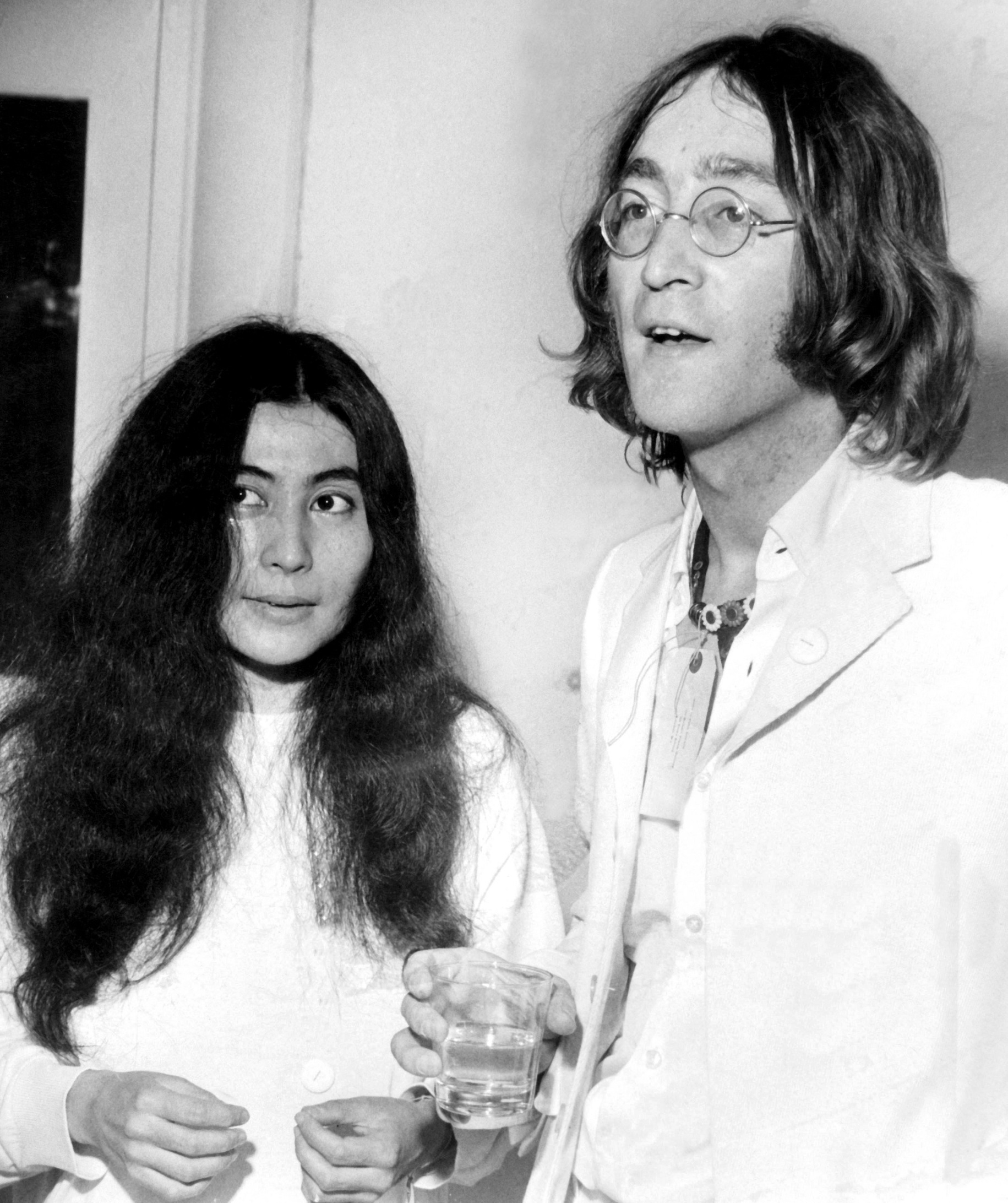 John Lennon with Yoko Ono at a show of John's art works dedicated to Yoko at a Mayfair gallery. London - 1st July 1968,Image: 304577306, License: Rights-managed, Restrictions: UK USE ONLY. Reproduction fee payable on use. For queries contact Photoshot on + 44 (0)7421 6000, Model Release: no, Credit line: STARSTOCK/Photoshot / Avalon Editorial / Profimedia