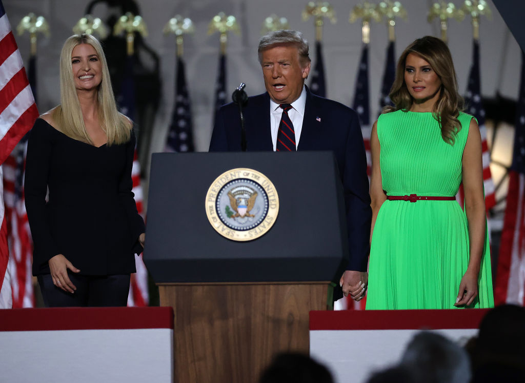 WASHINGTON, DC - AUGUST 27:  U.S. President Donald Trump and first lady Melania Trump is introduced by his daughter and White House senior adviser, Ivanka Trump, as he prepares to deliver his acceptance speech for the Republican presidential nomination on the South Lawn of the White House August 27, 2020 in Washington, DC. Trump gave the speech in front of 1500 invited guests.  (Photo by Chip Somodevilla/Getty Images)