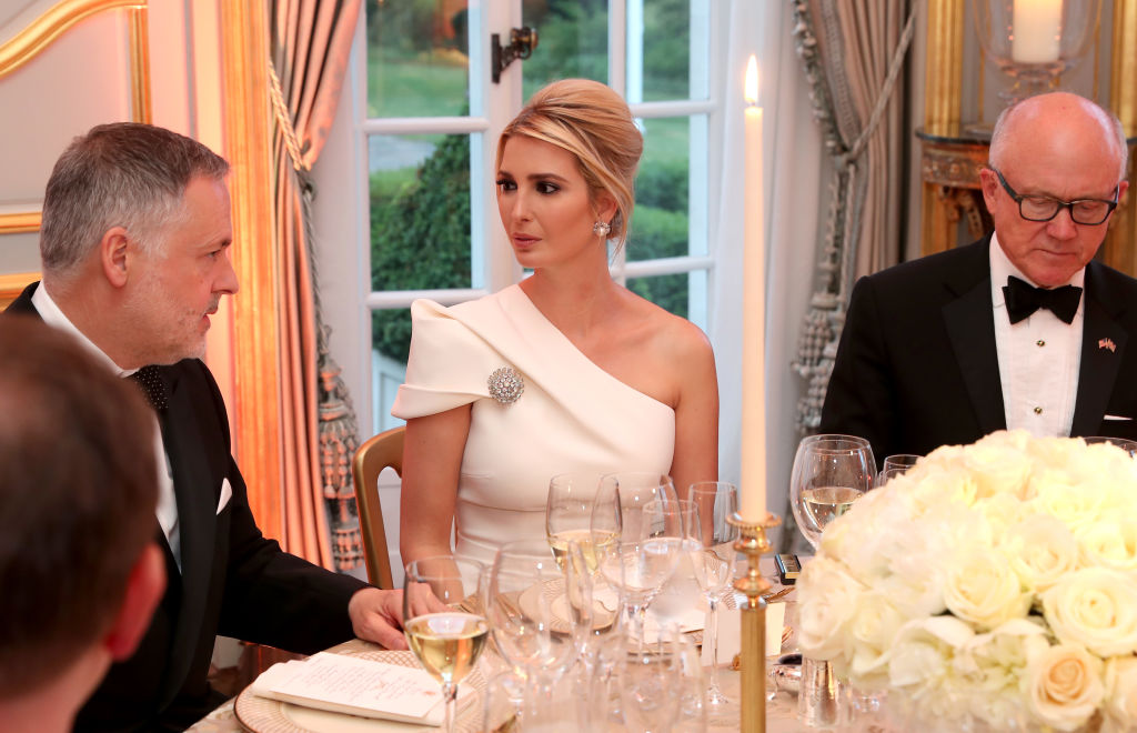 LONDON, ENGLAND - JUNE 04: Ivanka Trump attends a dinner hosted by US President Donald Trump and First Lady Melania Trump at Winfield House for Prince Charles, Prince of Wales and Camilla, Duchess of Cornwall, during their state visit on June 04, 2019 in London, England. President Trump's three-day state visit began with lunch with the Queen, followed by a State Banquet at Buckingham Palace, whilst today he attended business meetings with the Prime Minister and the Duke of York, before traveling to Portsmouth to mark the 75th anniversary of the D-Day landings. (Photo by Chris Jackson - WPA Pool/Getty Images)