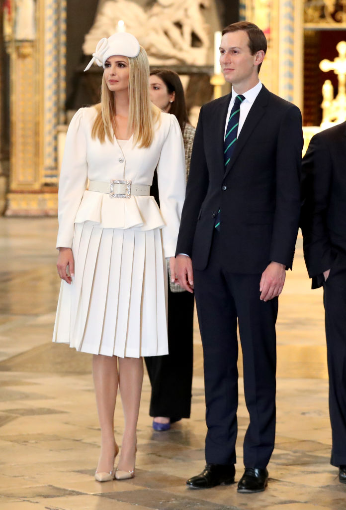 LONDON, ENGLAND - JUNE 03:  Ivanka Trump and Jared Kushner look on during the visit by US President Donald Trump and First Lady Melania Trump to Westminster Abbey on June 03, 2019 in London, England. President Trump's three-day state visit will include lunch with the Queen, and a State Banquet at Buckingham Palace, as well as business meetings with the Prime Minister and the Duke of York, before travelling to Portsmouth to mark the 75th anniversary of the D-Day landings. (Photo by Chris Jackson/Getty Images)