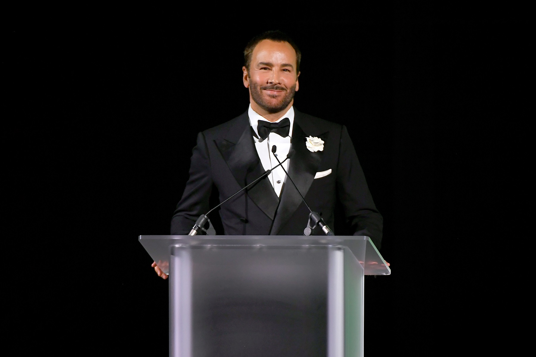 NEW YORK, NEW YORK - JUNE 03: Tom Ford speaks onstage during the CFDA Fashion Awards at the Brooklyn Museum of Art on June 03, 2019 in New York City. (Photo by Nicholas Hunt/Getty Images)