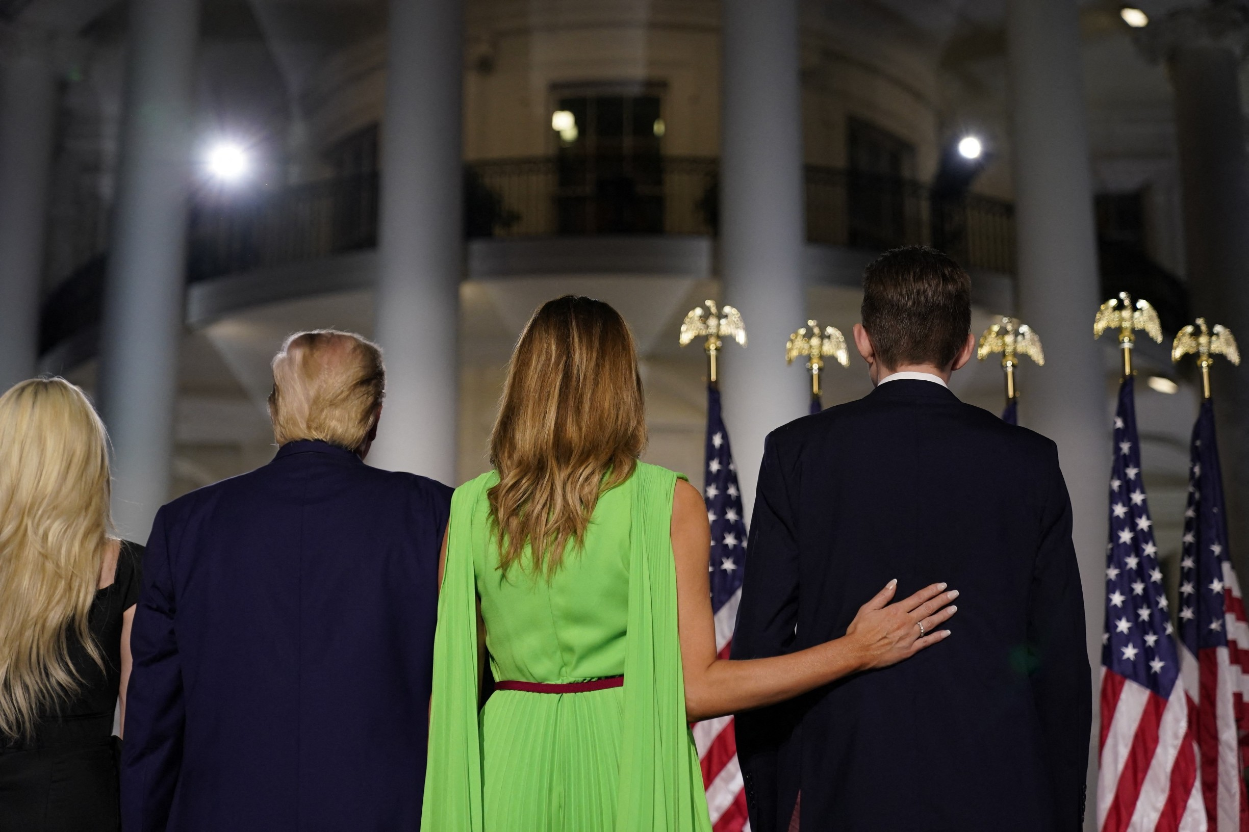 August 27, 2020 - Washington, DC, United States: Tiffany Trump, Donald Trump, Melania Trump, Barron Trump. U.S. President Donald Trump formally accepts the 2020 Republican presidential nomination during his Republican National Convention address from the South Lawn at the White House. (Erin Scott/Polaris) ///,Image: 555282660, License: Rights-managed, Restrictions: , Model Release: no, Credit line: Pool/ABACA / Abaca Press / Profimedia