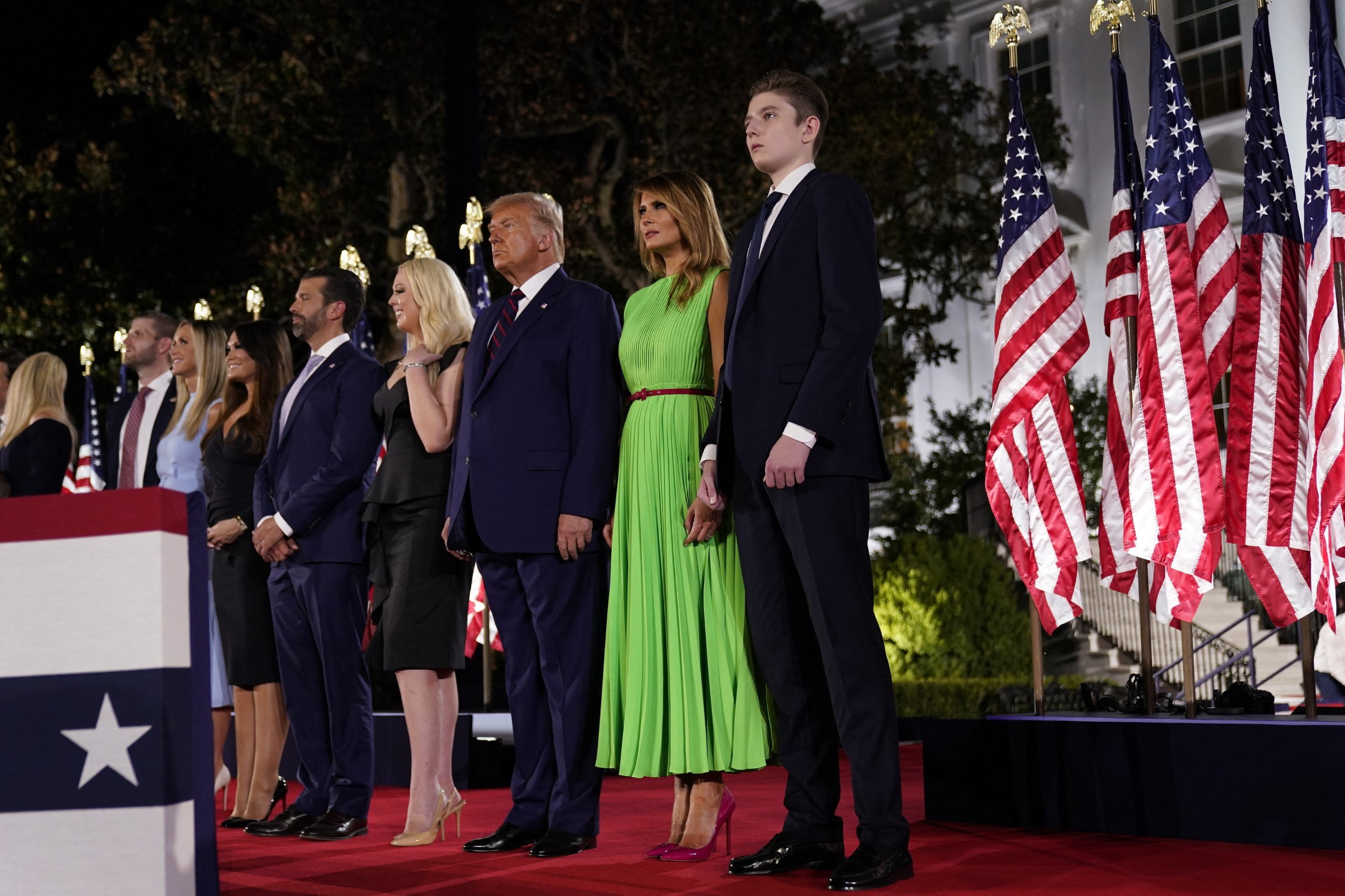 August 27, 2020 - Washington, DC, United States: Ivanka Trump, Eric Trump, Lara Trump, Kimberly Guilfoyle, Donald Trump, Melania Trump, Barron Trump. U.S. President Donald Trump formally accepts the 2020 Republican presidential nomination during his Republican National Convention address from the South Lawn at the White House. (Erin Scott/Polaris) ///,Image: 555282673, License: Rights-managed, Restrictions: , Model Release: no, Credit line: Pool/ABACA / Abaca Press / Profimedia