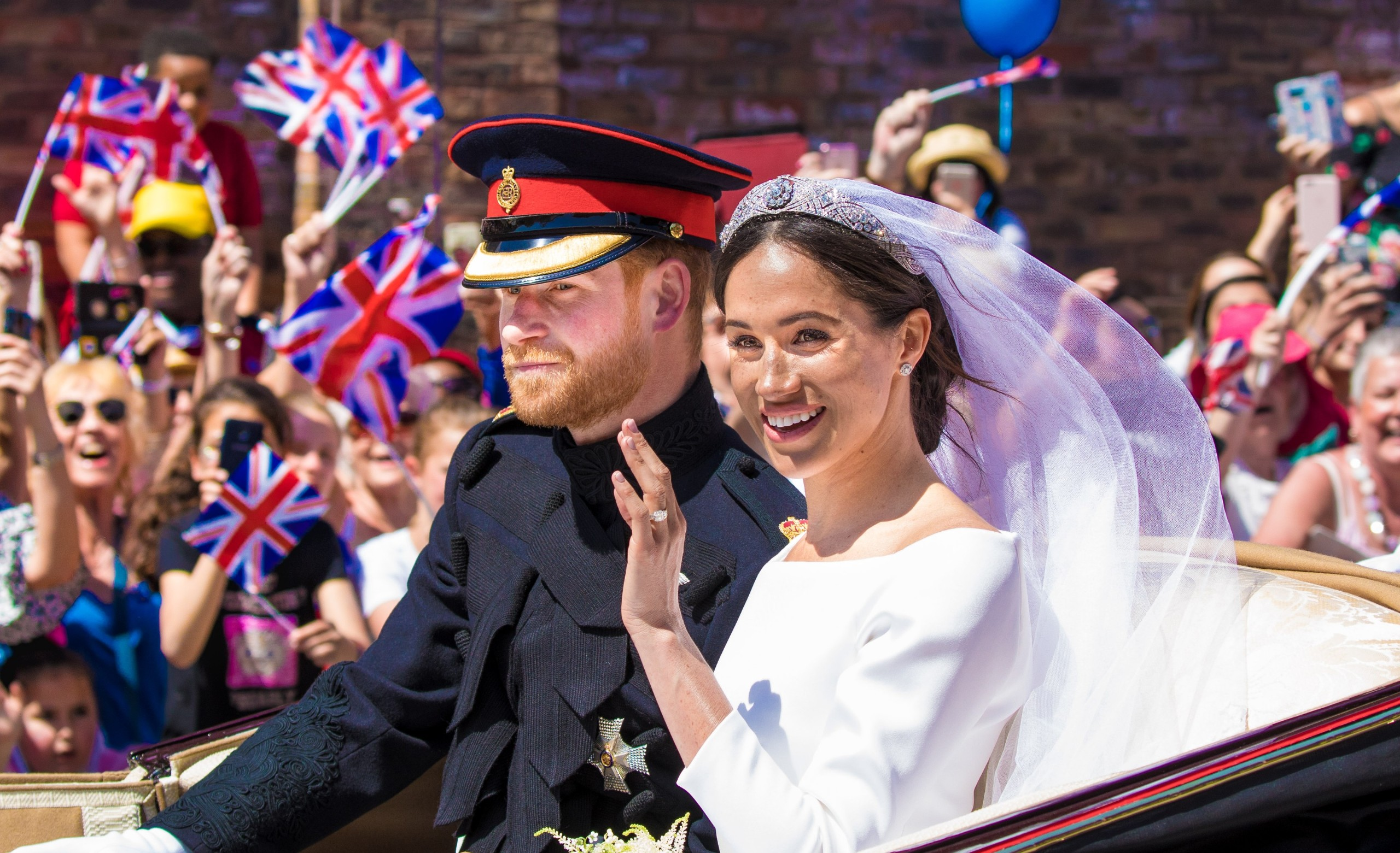 Prince Harry and Meghan Markle, Duke and Duchess of Sussex, during the Carriage Procession of their wedding in Windsor, Berkshire, UK.,Image: 372373666, License: Rights-managed, Restrictions: *** World Rights Except The Netherlands and Germany ***, Model Release: no, Credit line: DPPA / ddp USA / Profimedia
