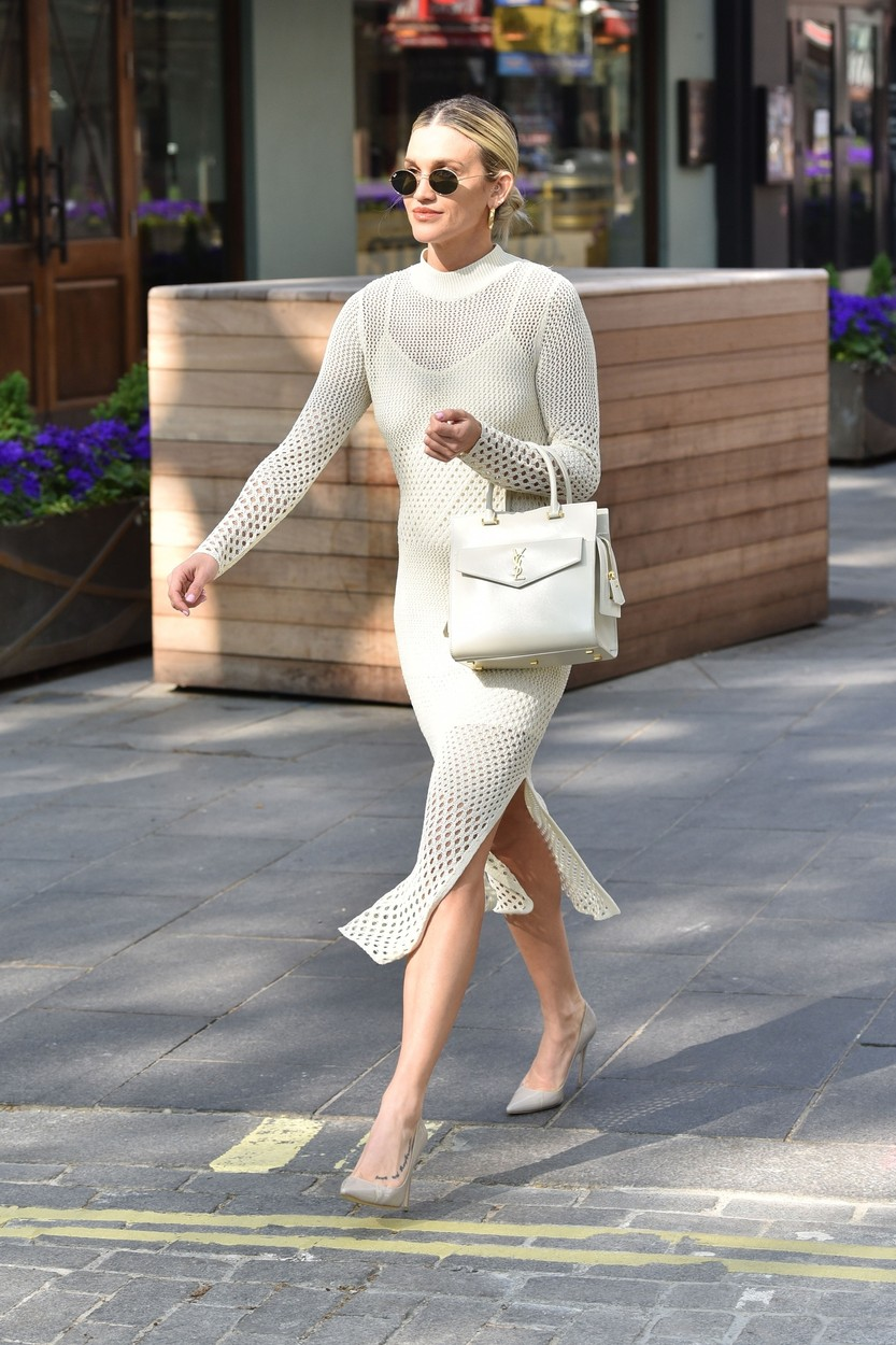 London, UNITED KINGDOM  - Television personality Ashley Roberts spotted leaving the Heart radio breakfast show in London wearing white mesh dress.  BACKGRID UK 24 APRIL 2020,Image: 514871471, License: Rights-managed, Restrictions: , Model Release: no, Credit line: RUSHEN / BACKGRID / Backgrid UK / Profimedia
