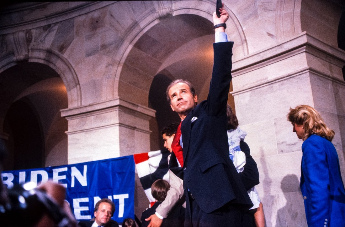 United States Senator Joseph Biden (Democrat of Delaware) waves to supporters after announcing his intention to run for the 1988 Democratic presidential nomination in Washington, D.C. on June 9, 1987. Credit: Howard L. Sachs / CNP/AdMedia,Image: 550189269, License: Rights-managed, Restrictions: , Model Release: no, Credit line: CNP/AdMedia / ADMedia / Profimedia