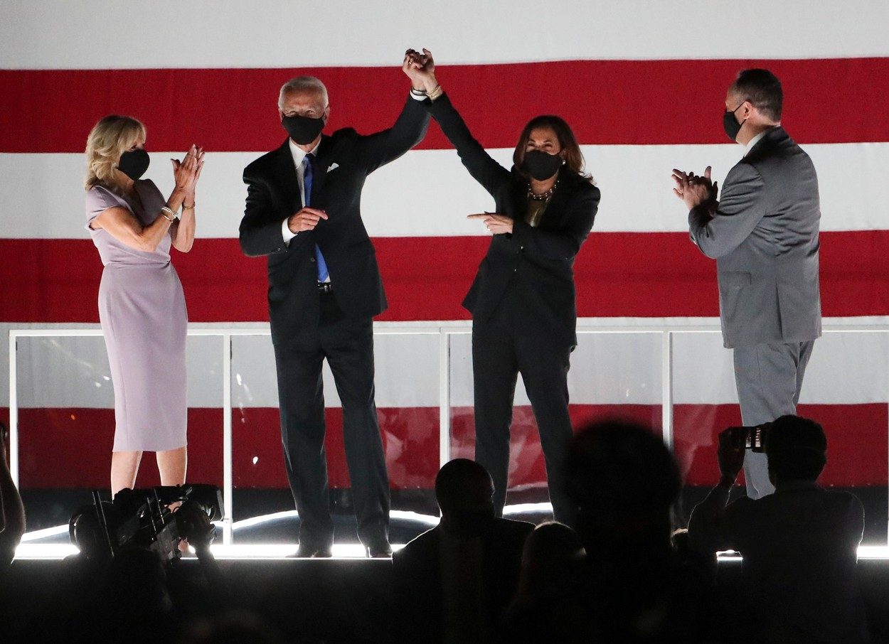Aug 20, 2020; Wilmington, DE, USA; Joe Biden and running mate Kamala Harris appear for supporters with their spouses, Jill Biden (left) and Douglas Emhoff after Biden accepted the nomination for the presidency at the conclusion of the Democratic National Convention at the Chase Center on the Riverfront Thursday.,Image: 554151778, License: Rights-managed, Restrictions: *** World Rights ***, Model Release: no, Credit line: USA TODAY Network / ddp USA / Profimedia