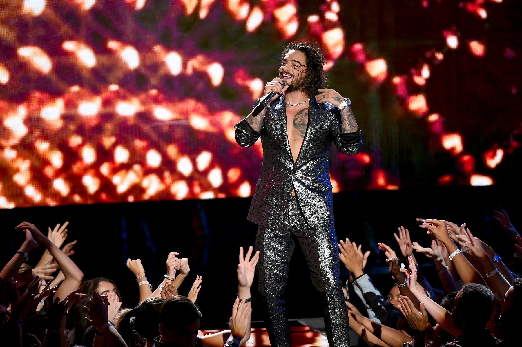 NEW YORK, NY - AUGUST 20:  Maluma performs onstage during the 2018 MTV Video Music Awards at Radio City Music Hall on August 20, 2018 in New York City.  (Photo by Theo Wargo/Getty Images)