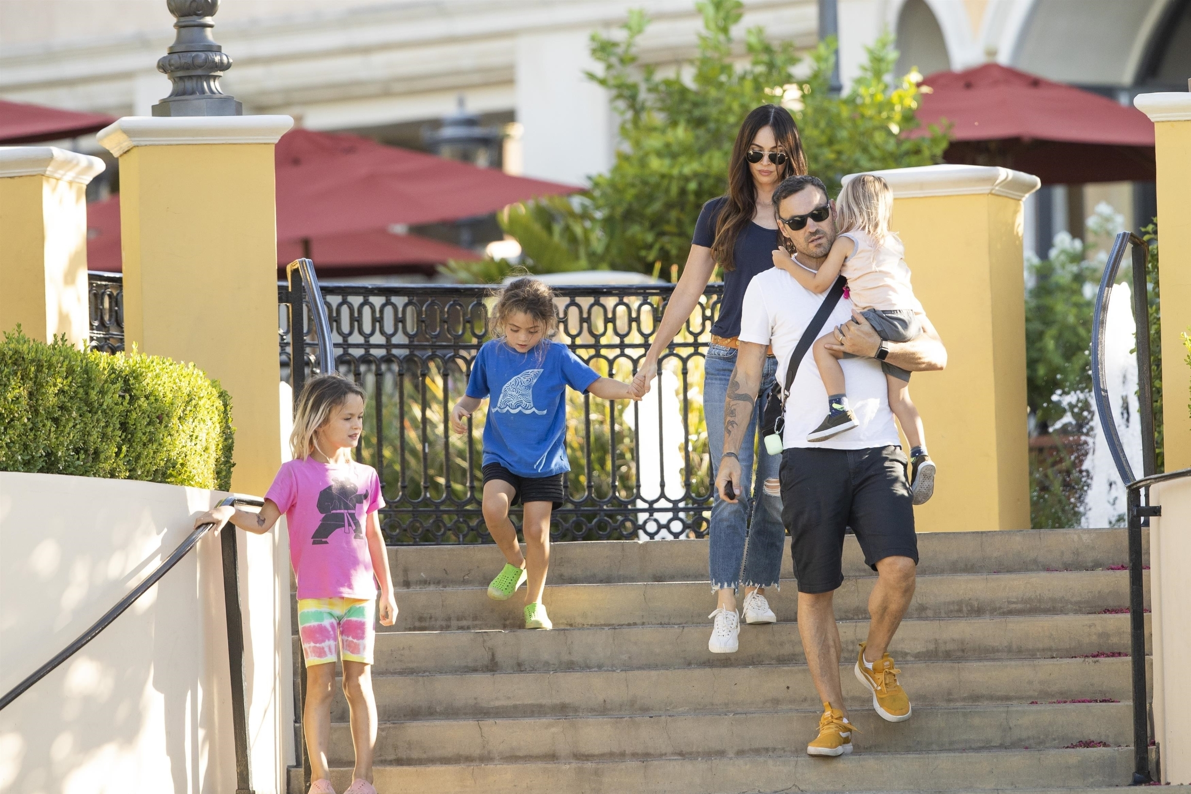 Calabasas, CA  - Megan Fox and Brian Austin Green took the kids for sushi at celeb hot spot Sugarfish in Calabasas. The kids made funny faces for the cameras on the way inside.  BACKGRID USA 7 SEPTEMBER 2019,Image: 469656532, License: Rights-managed, Restrictions: Non X, Model Release: no, Credit line: IXOLA / BACKGRID / Backgrid USA / Profimedia