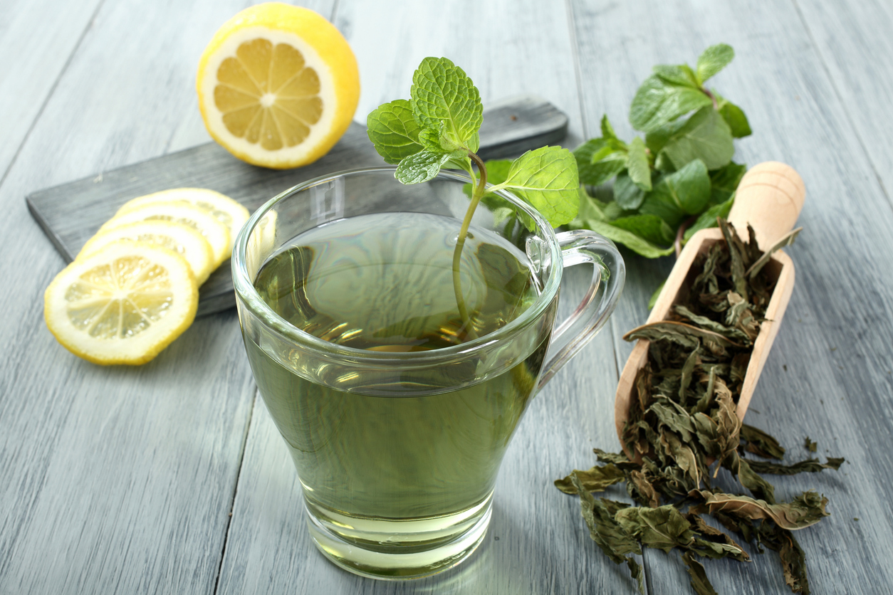 green tea gray background