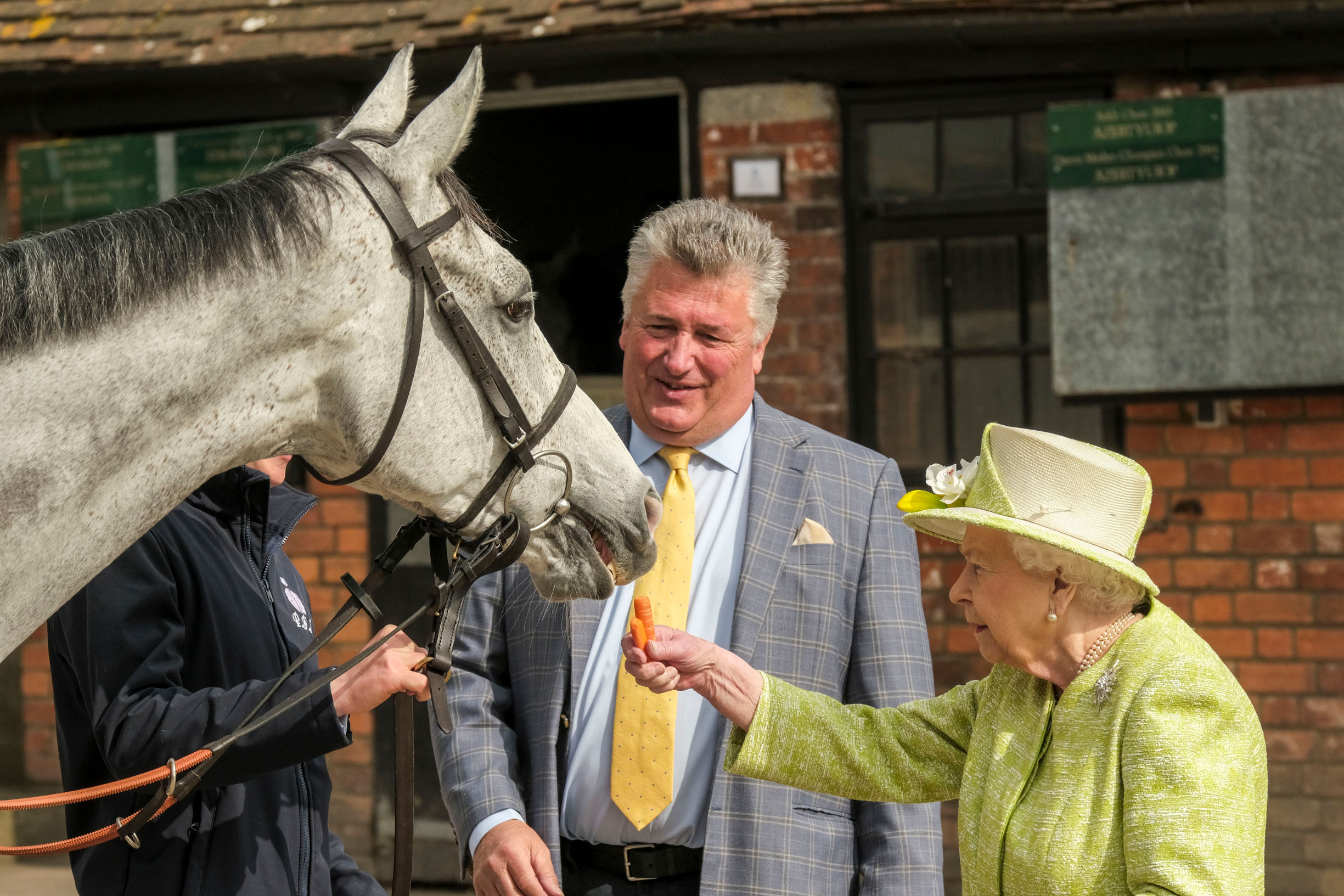 DITCHEAT, UNITED KINGDOM - MARCH 28: Queen Elizabeth II feeds a carrot to horse Politologue as trainer Paul Nicholls (C) looks on during a visit to Manor Farm Stables on March 28, 2019 in Ditcheat, United Kingdom. (Photo by Matt Keeble - WPA Pool/Getty Images)