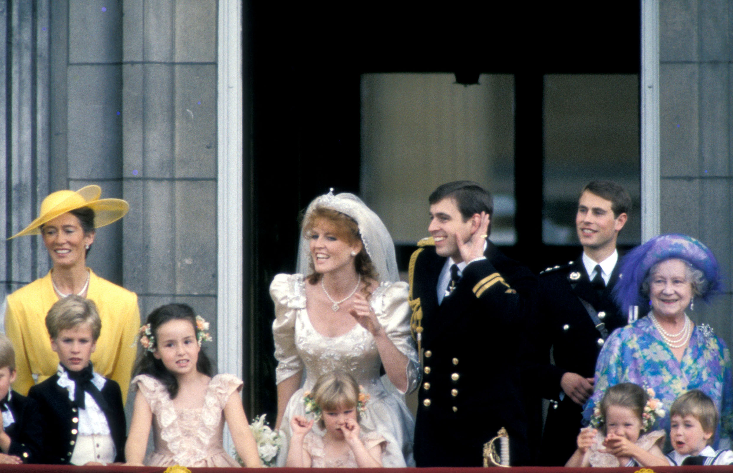 6 January 2015.  Prince Andrew's problems continue.  Here, stock image: 03/07/1986 Scenes from the Balcony at Buckingham Palace after the Wedding of Prince Andrew, Duke of York to Sarah Ferguson The Bride and Groom with Peter Phillips and his sister Zara Phillips, Prince Edward, Duke of Kent, The Queen Mother and William, Prince of Wales,Image: 214636135, License: Rights-managed, Restrictions: **No UK Sales**, Model Release: no, Credit line: ADavidson / Goff Photos / Profimedia