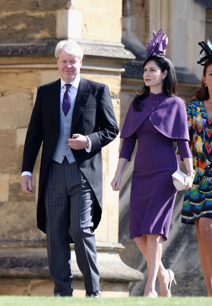 WINDSOR, ENGLAND - MAY 19: Charles Spencer (L) and Karen Spencer arrive at the wedding of Prince Harry to Ms Meghan Markle at St George's Chapel, Windsor Castle on May 19, 2018 in Windsor, England. Prince Henry Charles Albert David of Wales marries Ms. Meghan Markle in a service at St George's Chapel inside the grounds of Windsor Castle. Among the guests were 2200 members of the public, the royal family and Ms. Markle's Mother Doria Ragland.  (Photo by Chris Jackson/Getty Images)