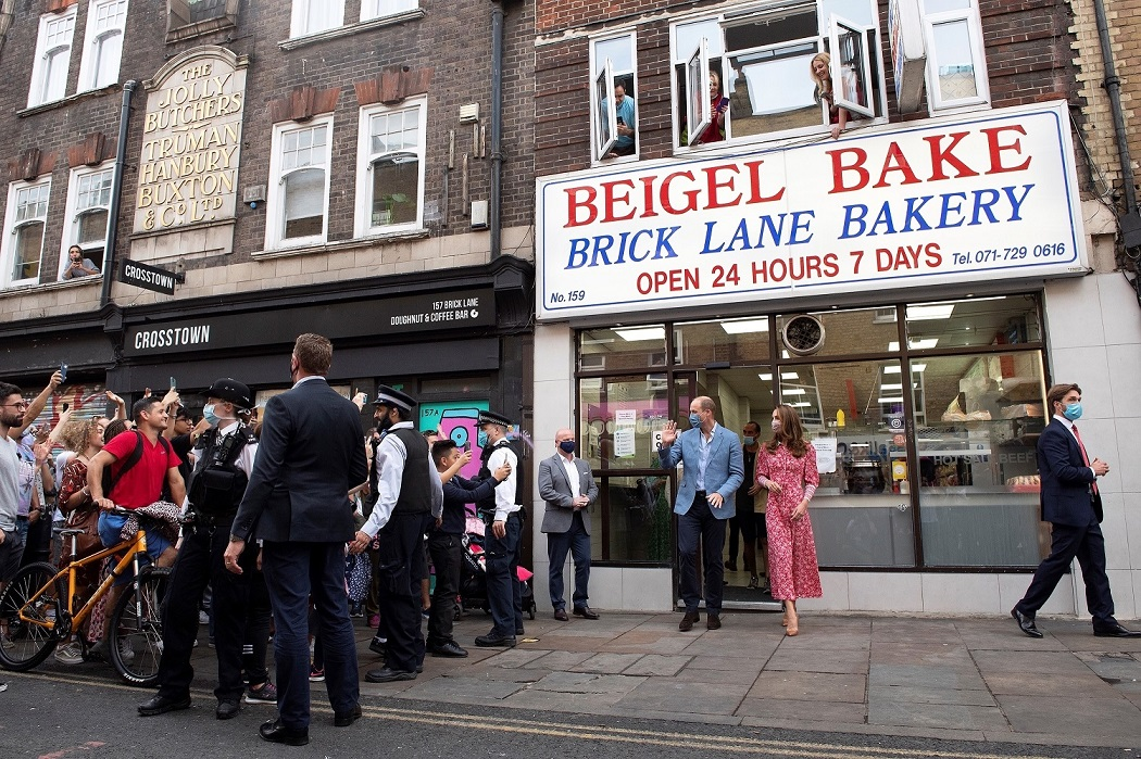 London, UNITED KINGDOM  - The Duke and Duchess of Cambridge visit Beigel Bake, Brick Lane Bakery, in London, UK.  *UK Clients - Pictures Containing Children Please Pixelate Face Prior To Publication*,Image: 558135911, License: Rights-managed, Restrictions: RIGHTS: WORLDWIDE EXCEPT IN FRANCE, UNITED KINGDOM, Model Release: no, Credit line: BACKGRID / Backgrid UK / Profimedia