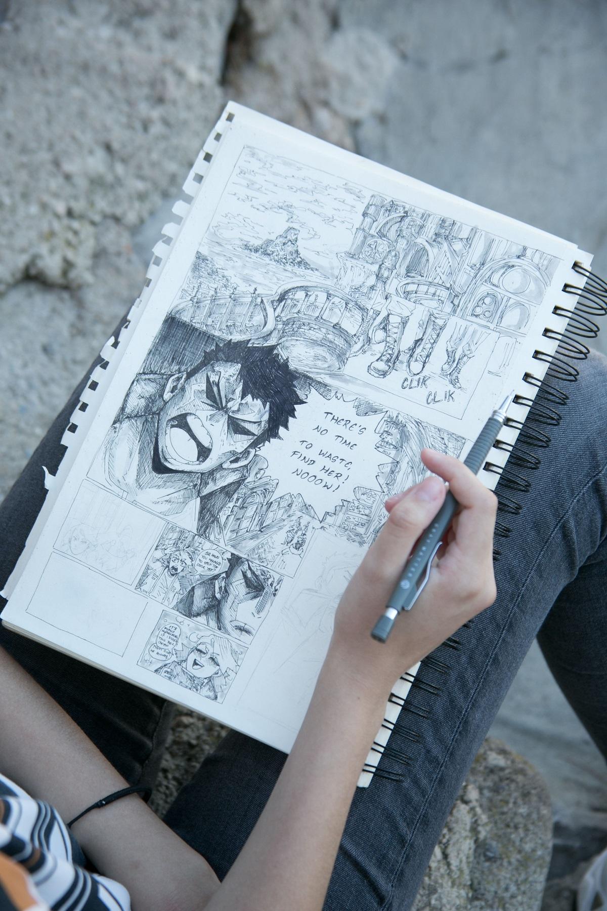 Gabriella Grabusic, mlada crtacica stripova  ilustratorica iz rijeke, 15 godina, Krk, 060920 foto ines stipetic