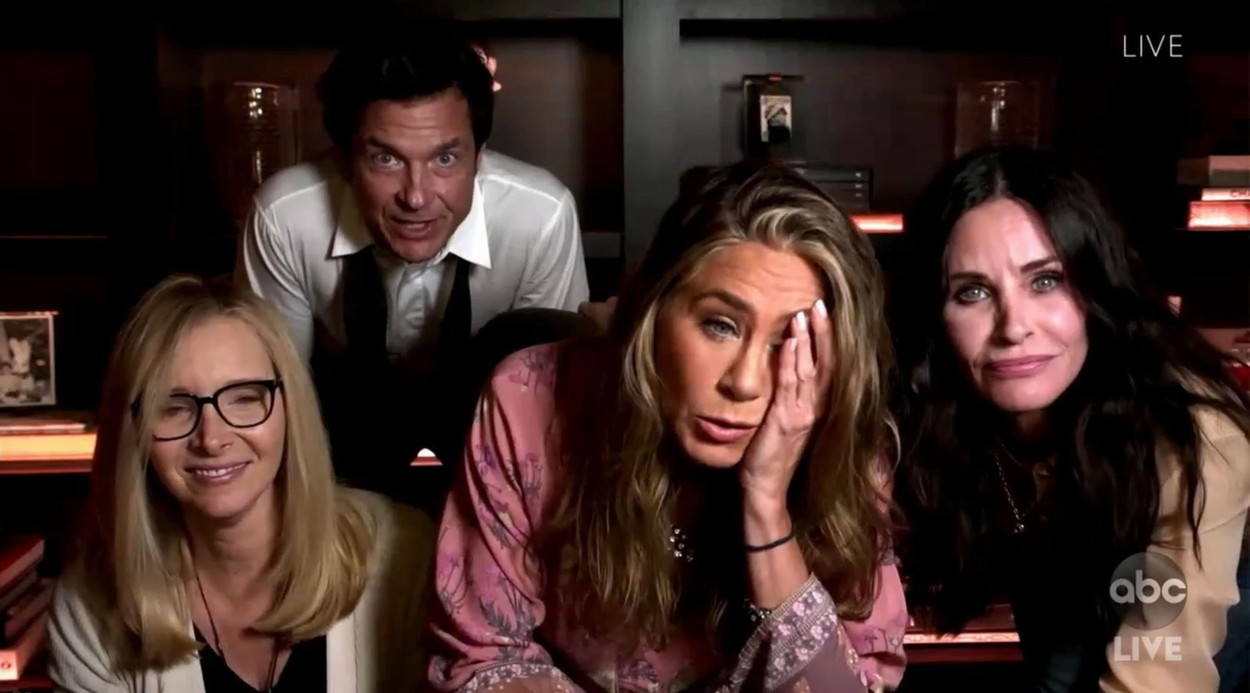 Los Angeles, CA  - Friends stars Courteney Cox and Lisa Kudrow join Jennifer Aniston at home during the Emmys as they joke: