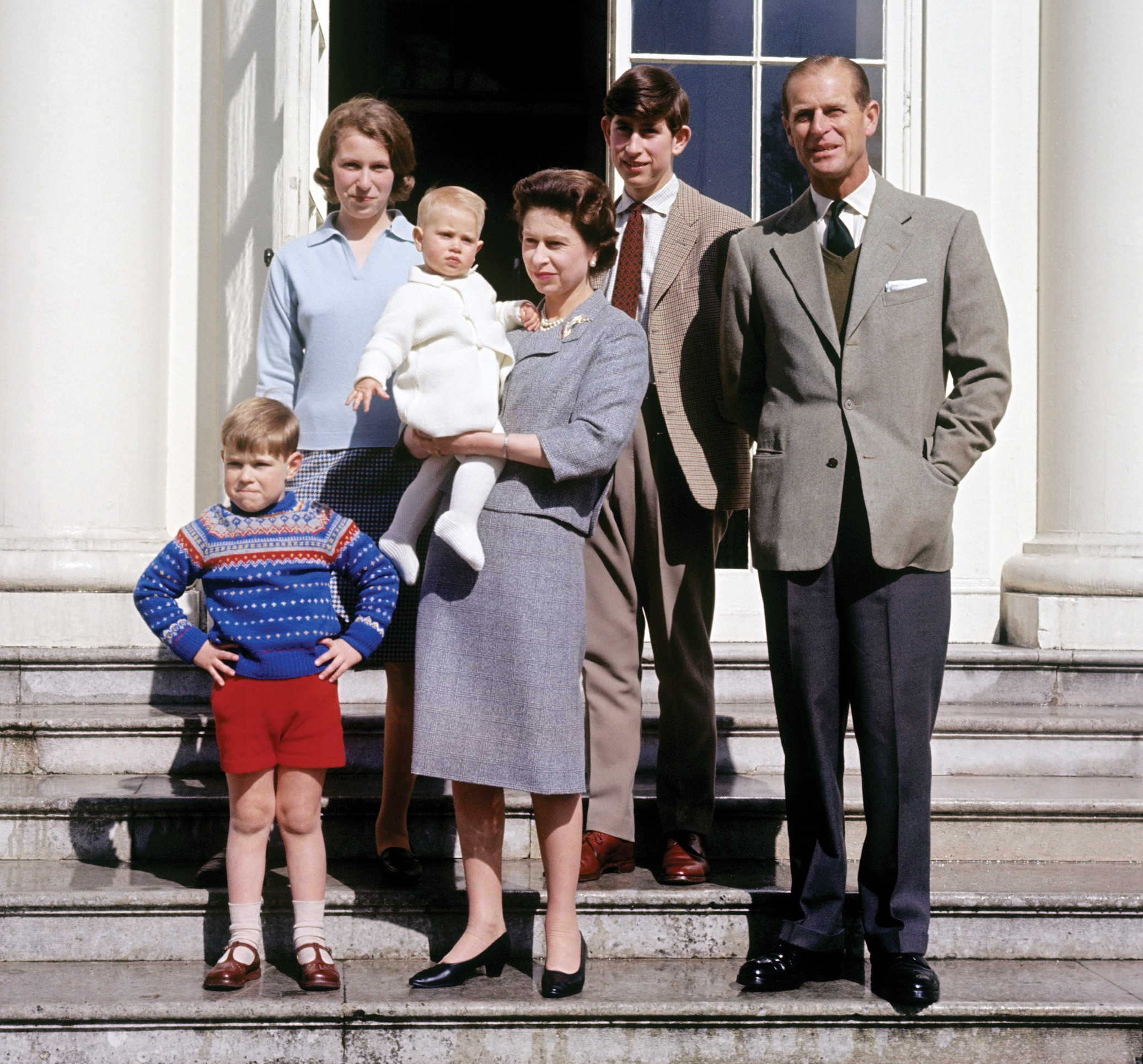File photo dated 21/04/65 of Queen Elizabeth II holding the Earl of Wessex as a baby with (left to right) the Duke of York, the Princess Royal, the Prince of Wales and the Duke of Edinburgh. Anne celebrates her 70th birthday on Saturday.,Image: 551796152, License: Rights-managed, Restrictions: FILE PHOTO, Model Release: no, Credit line: PA News / PA Images / Profimedia