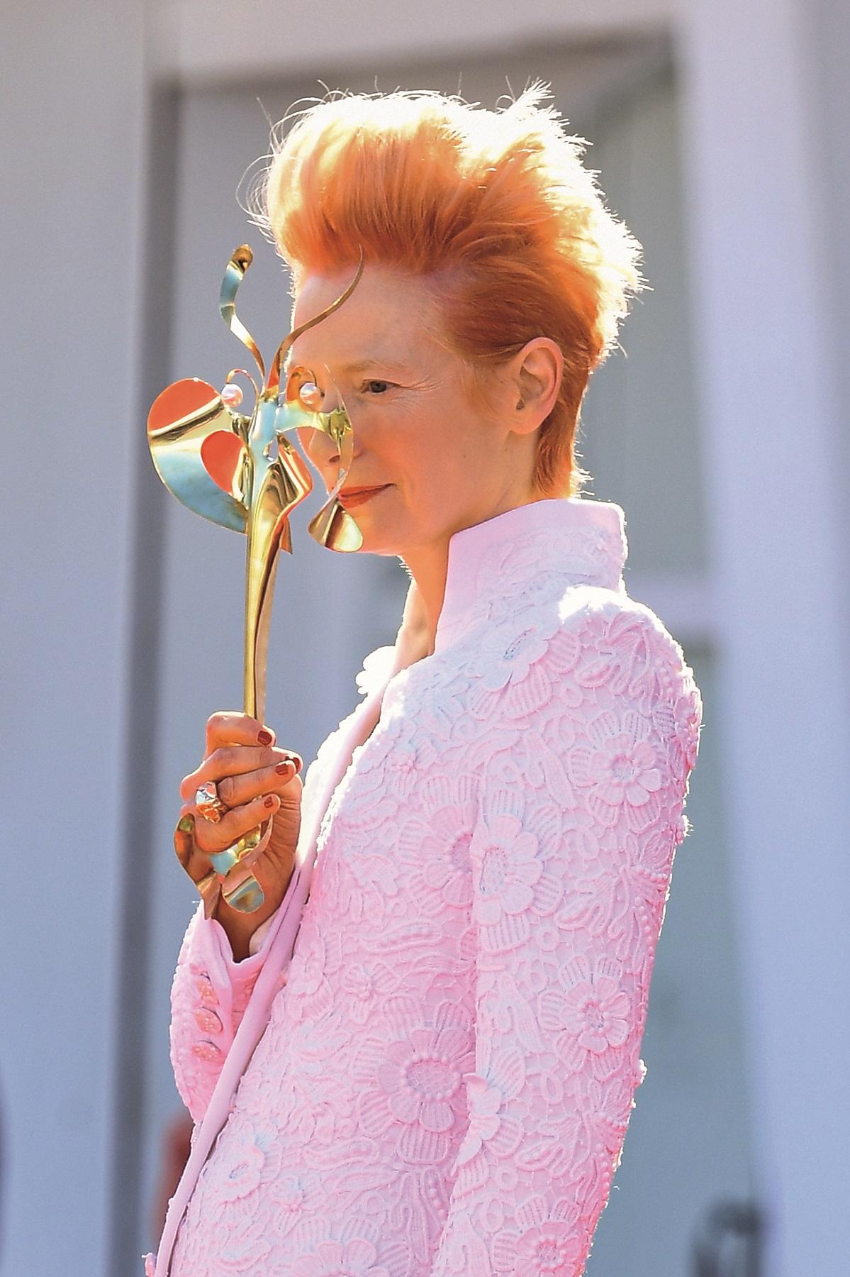 VENICE, ITALY - SEPTEMBER 03: Tilda Swinton walks the red carpet ahead of the movie