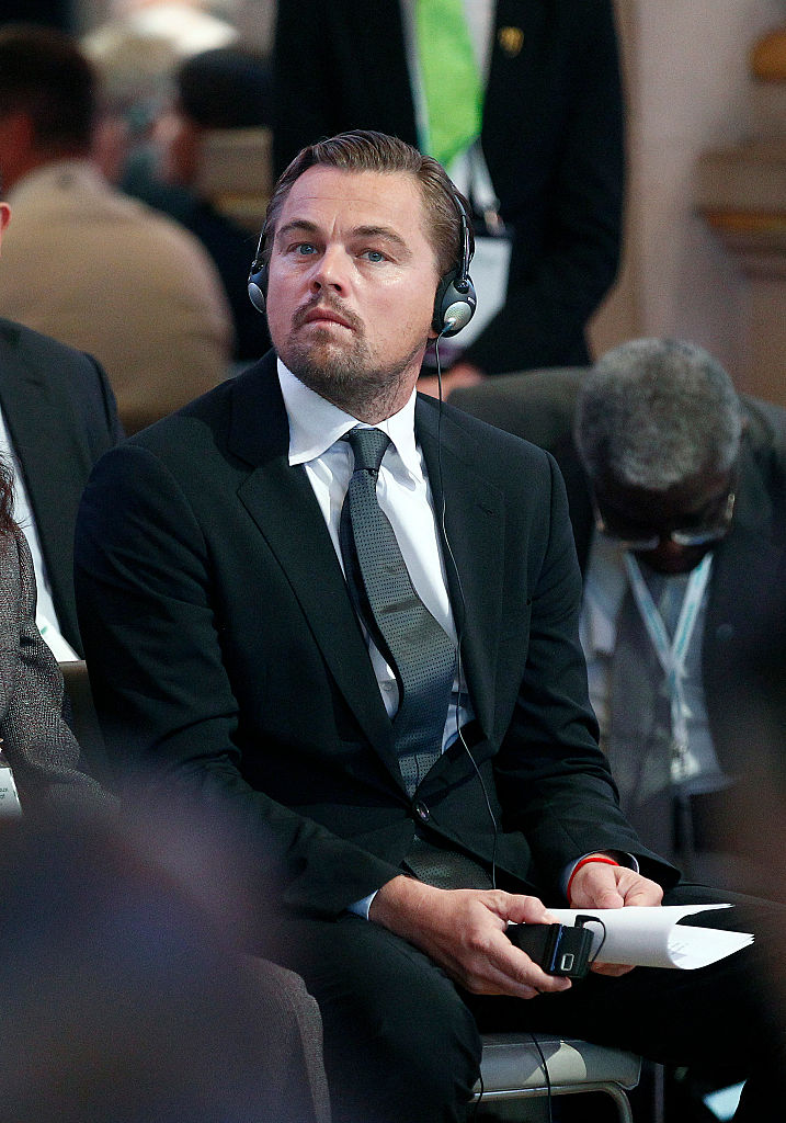 PARIS, FRANCE - DECEMBER 04:  US actor Leonardo DiCaprio attends a Summit of Local elected for Climate at the Paris city hall on December 04, 2015 in Paris, France. Thousand mayors from different cities gather at the Paris city hall during the COP21, Paris Climate Conference.  (Photo by Thierry Chesnot/Getty Images)