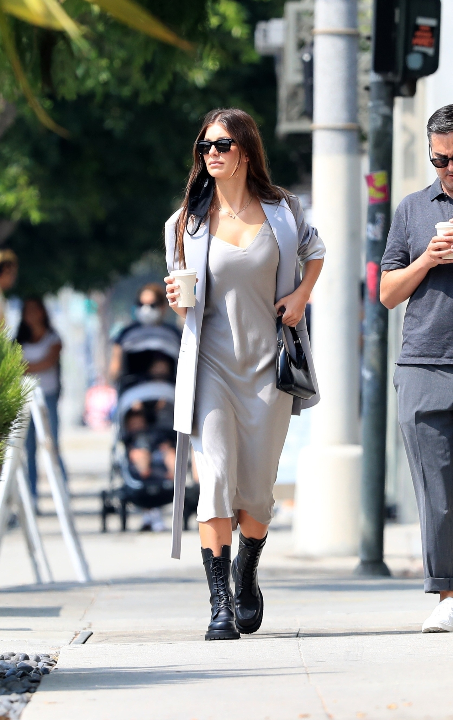 West Hollywood, CA  - *EXCLUSIVE*  - Leo DiCaprio's model girlfriend Camila Morrone was spotted stepping out with her stylist Micah Marcus as they went to grab coffee at Blue Bottle Coffee Company. The stunning model sported a perfectly coordinated sexy + rocker chic look for the outing. Camila paired a Magda Butrym dress and Louis Vuitton necklace with a small black handlbag and black combat boots.  BACKGRID USA 16 SEPTEMBER 2020,Image: 558347295, License: Rights-managed, Restrictions: , Model Release: no, Credit line: GAMR / BACKGRID / Backgrid USA / Profimedia