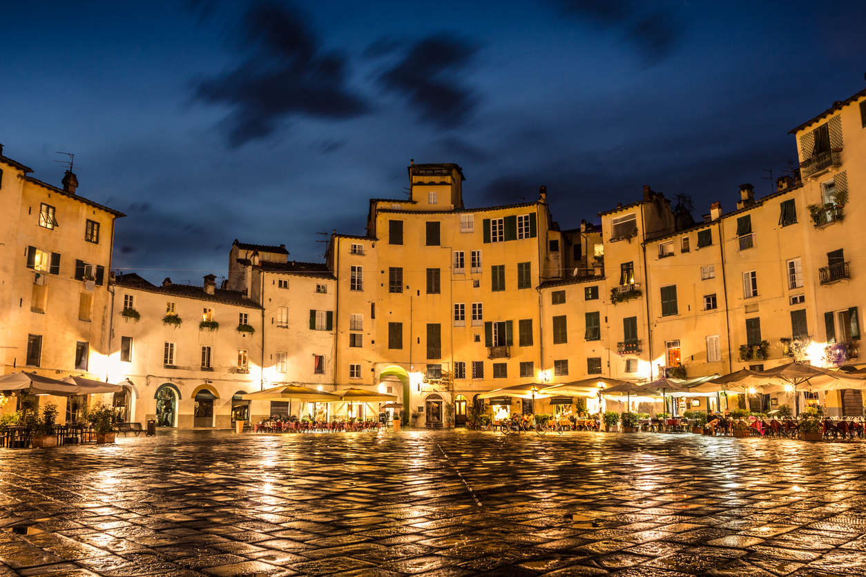 View of the famous square of Lucca. On of the best villages of Tuscany, Italy.