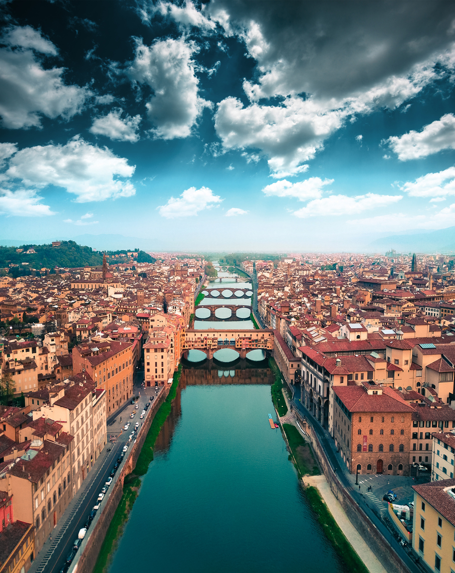 aerial view of ponte vecchio in Florence