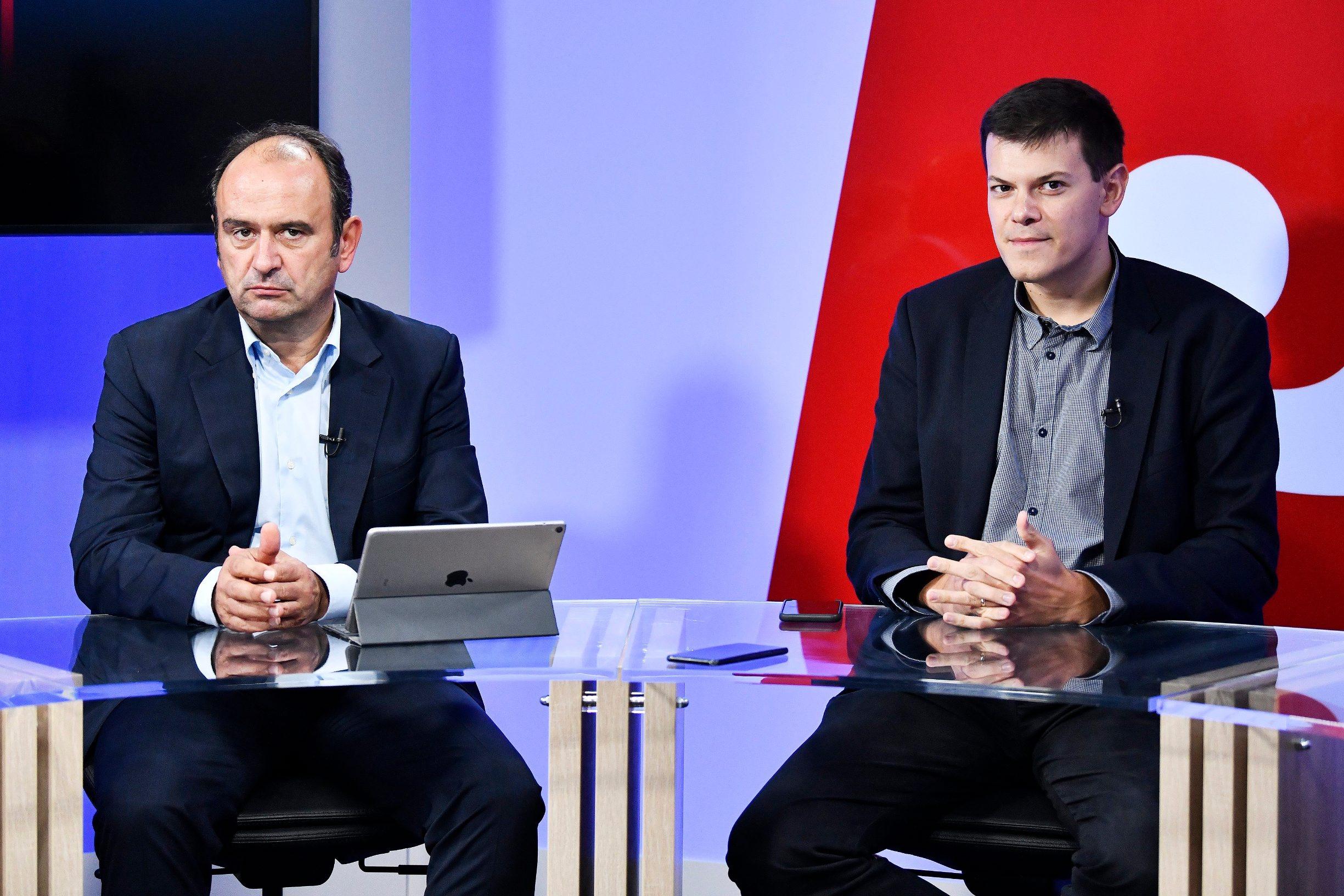 Zagreb, 240920. Okrugli stol o poslovnoj klimi i investicijama u studiju Hanza medie. Na fotografiji: Marinko Dosen i Vuk Vukovic. Boris Kovacev / CROPIX