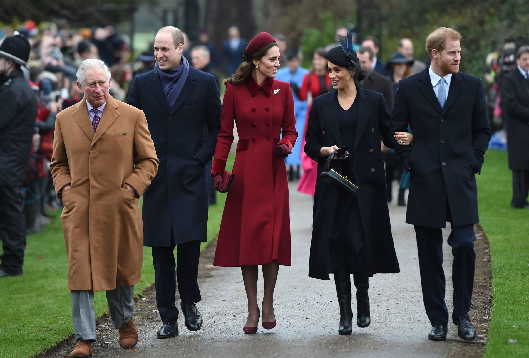 File photo dated 25/12/18 of (left to right)The Prince of Wales, the Duke of Cambridge, the Duchess of Cambridge, the Duchess of Sussex and the Duke of Sussex arriving to attend the Christmas Day morning church service at St Mary Magdalene Church in Sandringham, Norfolk. Funding for the Sussexes and the Cambridges contributed to a £5.6 million bill for the Prince of Wales in Harry and Meghans final year as senior royals, accounts show. The accounts run from April 2019 to the end of March 2020  just after the UK went into lockdown and Charles contracted coronavirus.,Image: 559788505, License: Rights-managed, Restrictions: FILE PHOTO, Model Release: no, Credit line: Joe Giddens / PA Images / Profimedia