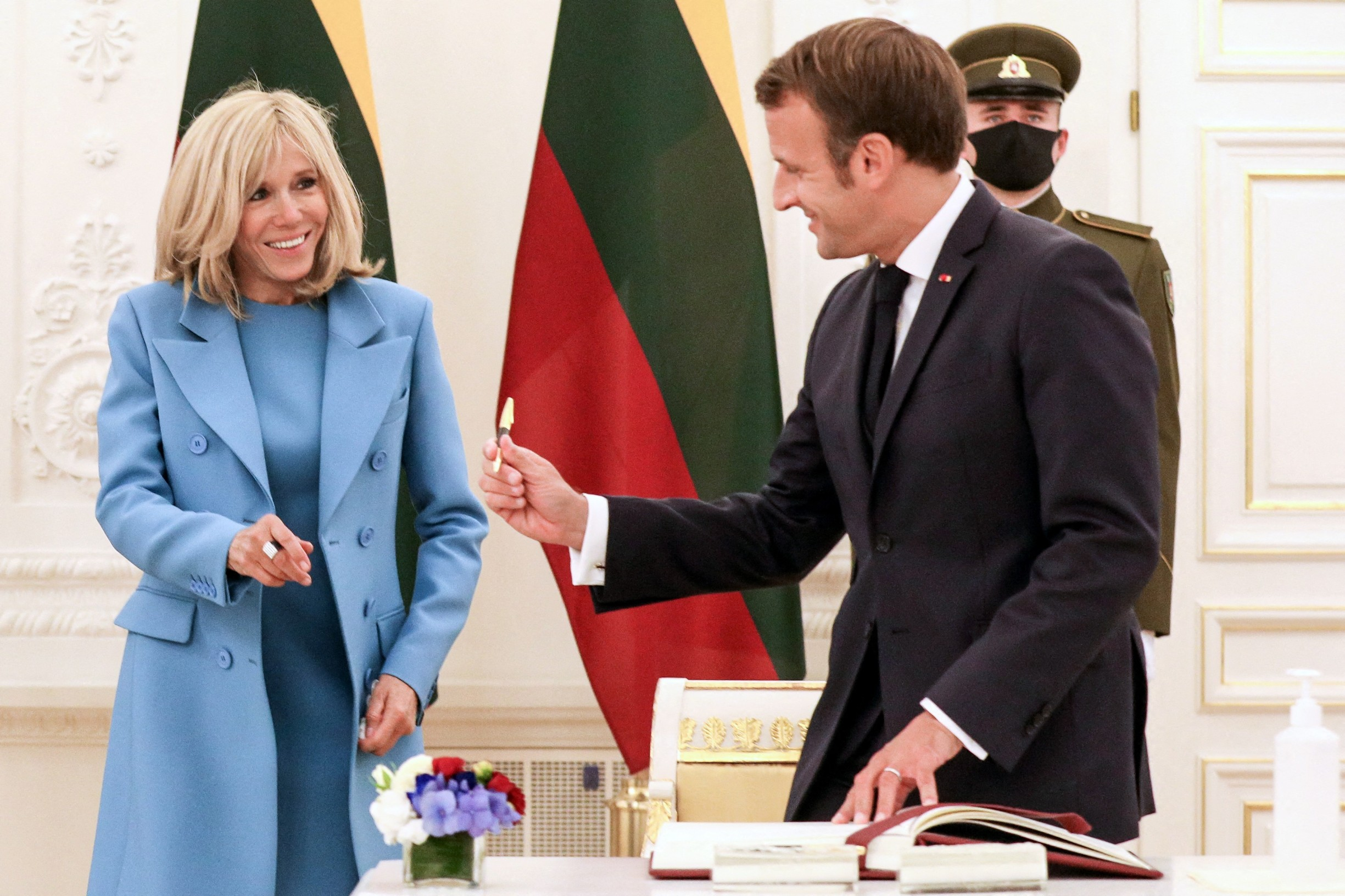 French President Emmanuel Macron and his wife Brigitte are greeted by Lithuania's President ahead of a meeting at the Presidential Palace in Vilnius, Lithuania on September 28, 2020.,Image: 560402800, License: Rights-managed, Restrictions: , Model Release: no, Credit line: Lemouton Stephane/Pool/ABACA / Abaca Press / Profimedia