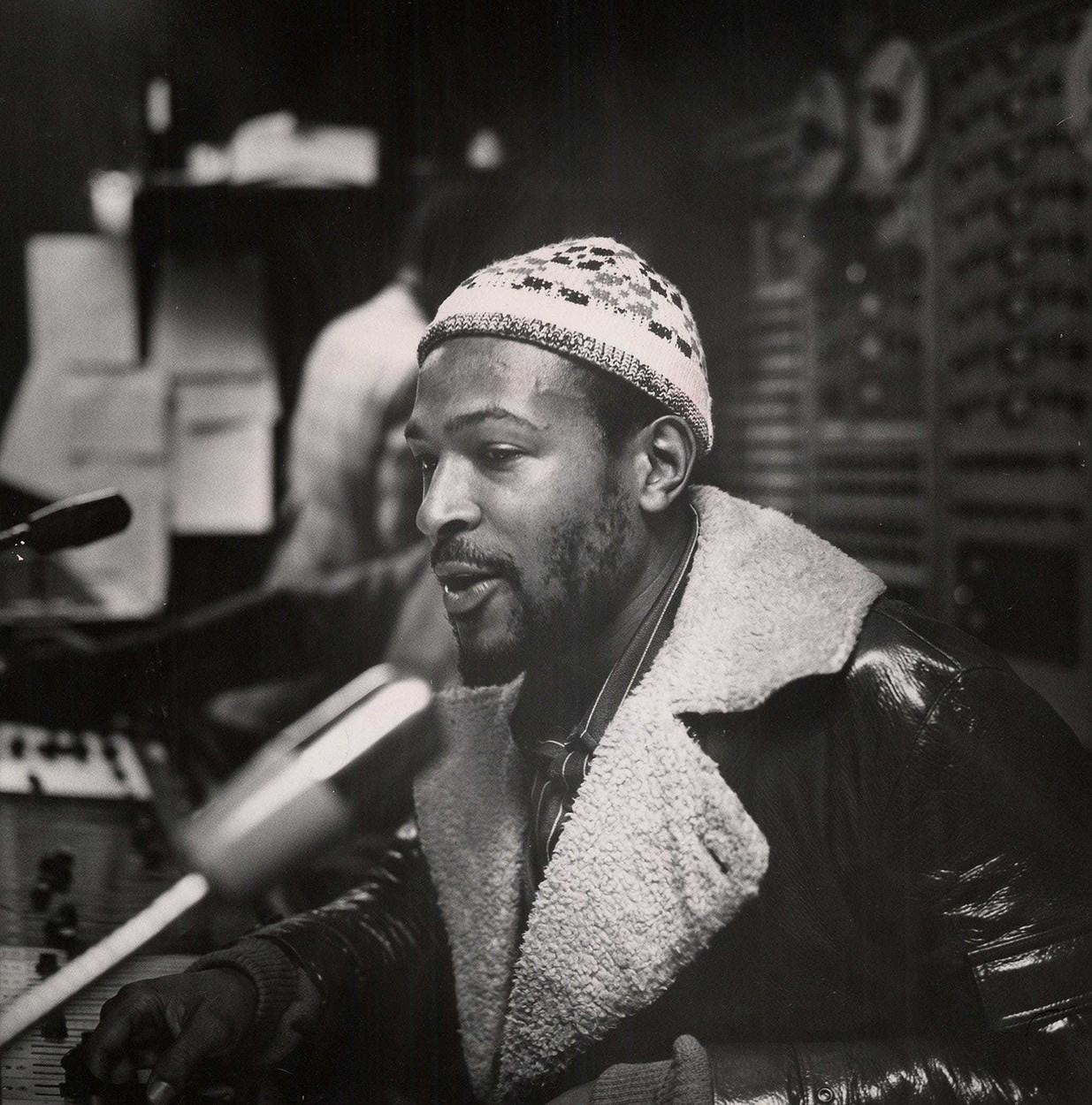Marvin Gaye, photographed in the Motown studio console room in early 1971 by Gordon Staples, concertmaster of the Detroit Symphony Orchestra.,Image: 542678902, License: Rights-managed, Restrictions: HFA WEB BL LN*** World Rights *** US Newspapers Out *** NO TV, VIDEO, FILM ***, Model Release: no, Credit line: TNS / ddp USA / Profimedia