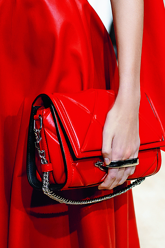 PARIS, FRANCE - MARCH 02: (EDITORIAL USE ONLY) A model, bag detail, walks the runway during the Alexander McQueen as part of the Paris Fashion Week Womenswear Fall/Winter 2020/2021 on March 02, 2020 in Paris, France. (Photo by Peter White/Getty Images)