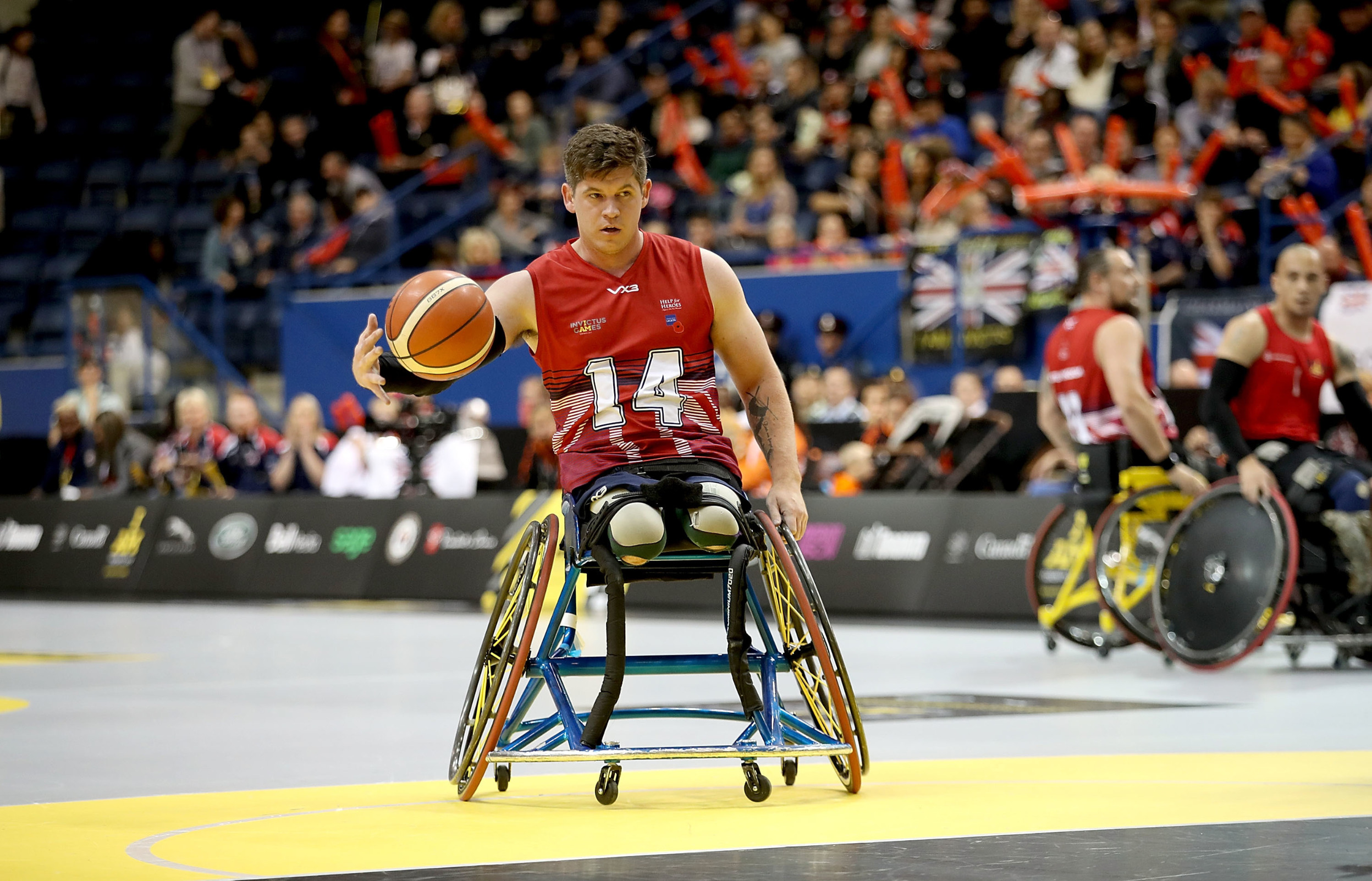The UK team compete against Denmark in the Wheelchair Basketball Finals during the Invictus Games 2017 at Mattamy Athletic Centre on September 30, 2017 in Toronto, Canada. Invictus Games, Toronto, Canada - 30 Sep 2017,Image: 351053348, License: Rights-managed, Restrictions: , Model Release: no, Credit line: - / Shutterstock Editorial / Profimedia