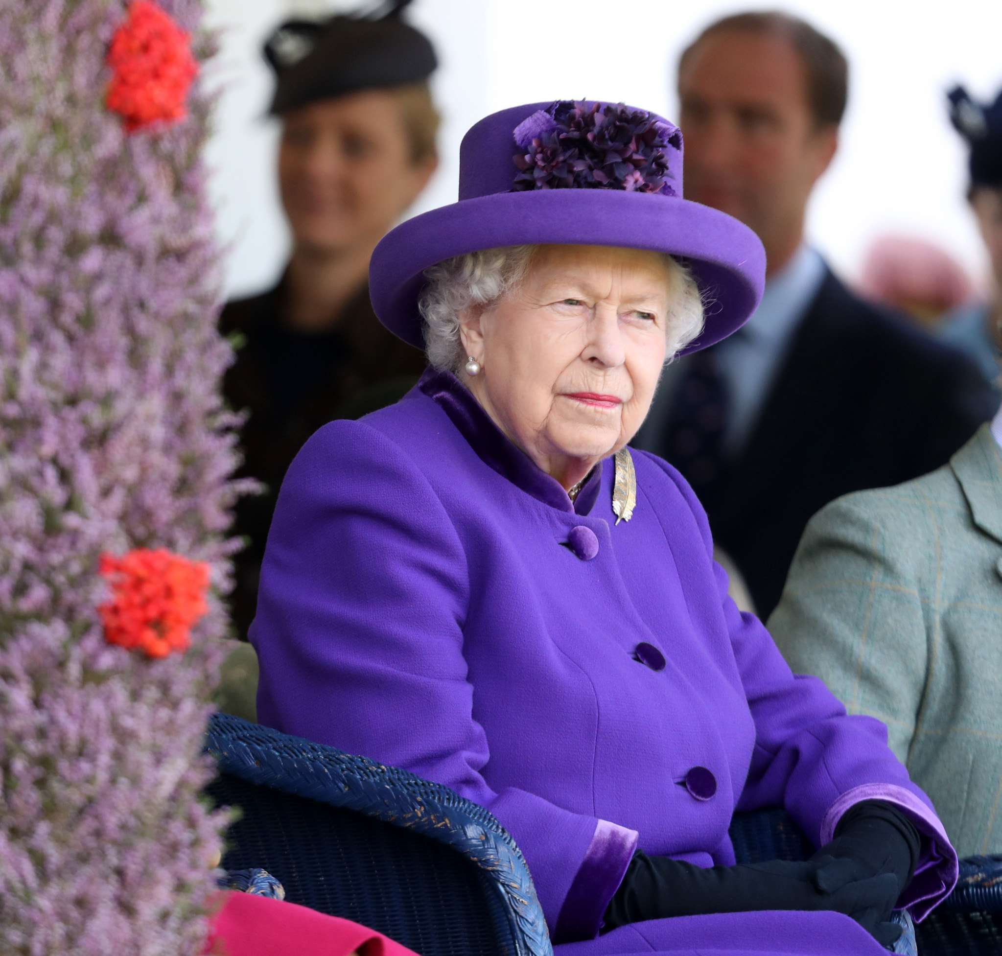 BRAEMAR, SCOTLAND - SEPTEMBER 07: Queen Elizabeth II during the 2019 Braemar Highland Games at The Princess Royal and Duke of Fife Memorial Park on September 07, 2019 in Braemar, Scotland. (Photo by Chris Jackson/Getty Images)