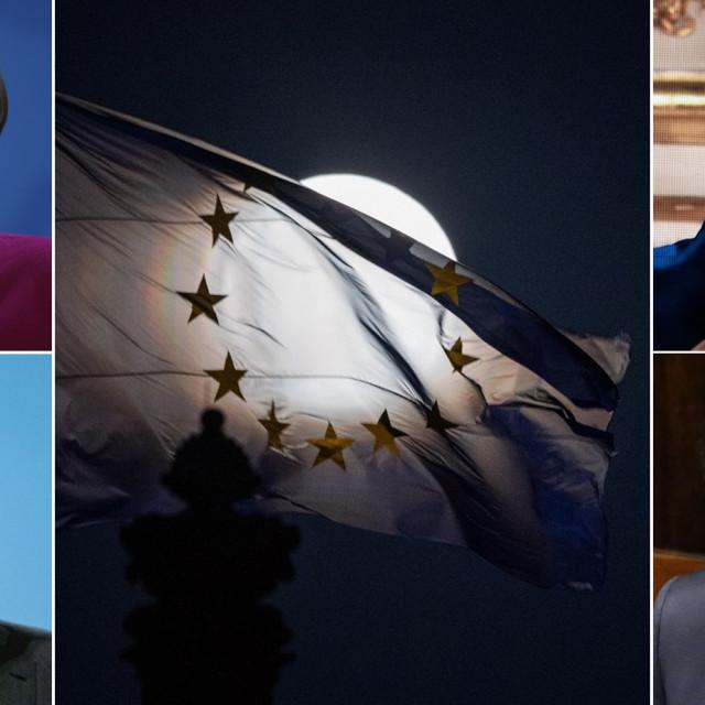 Angela Merkel, Mark Rutte, Emmanuel Macron i Giuseppe Conte